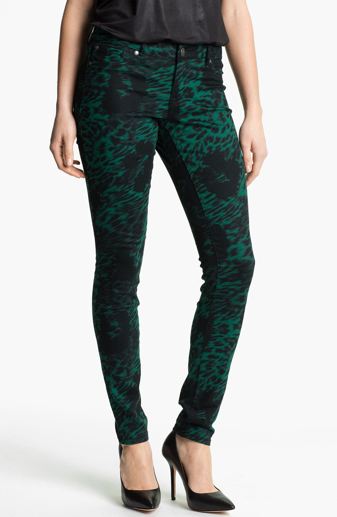 Alternate Image 1 Selected - Jessica Simpson 'Kiss Me' Print Twill Skinny Jeans