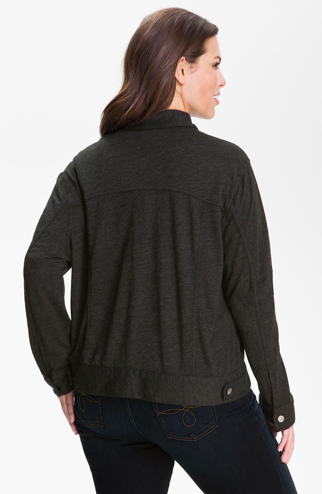 Alternate Image 2  - Allen Allen Knit Jeans Jacket (Plus)