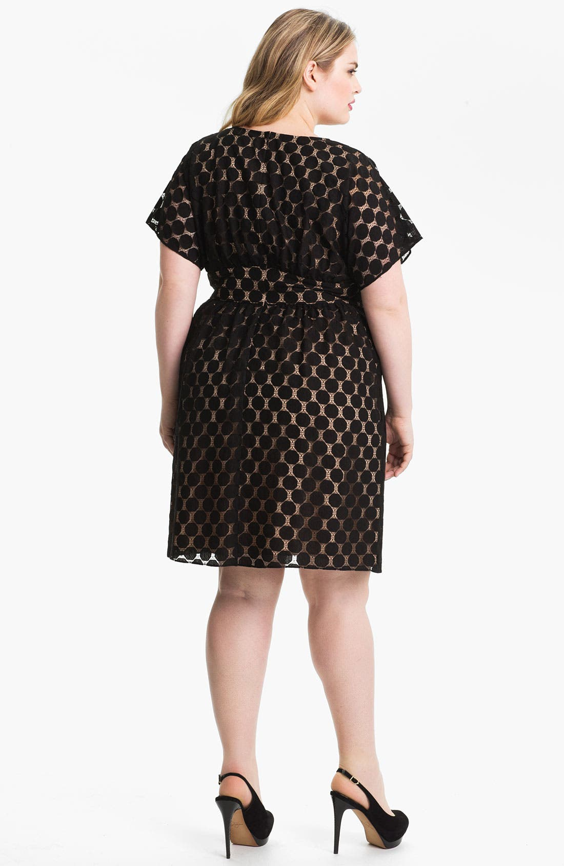 Alternate Image 2  - Adrianna Papell Dot Lace Overlay Dress (Plus Size)