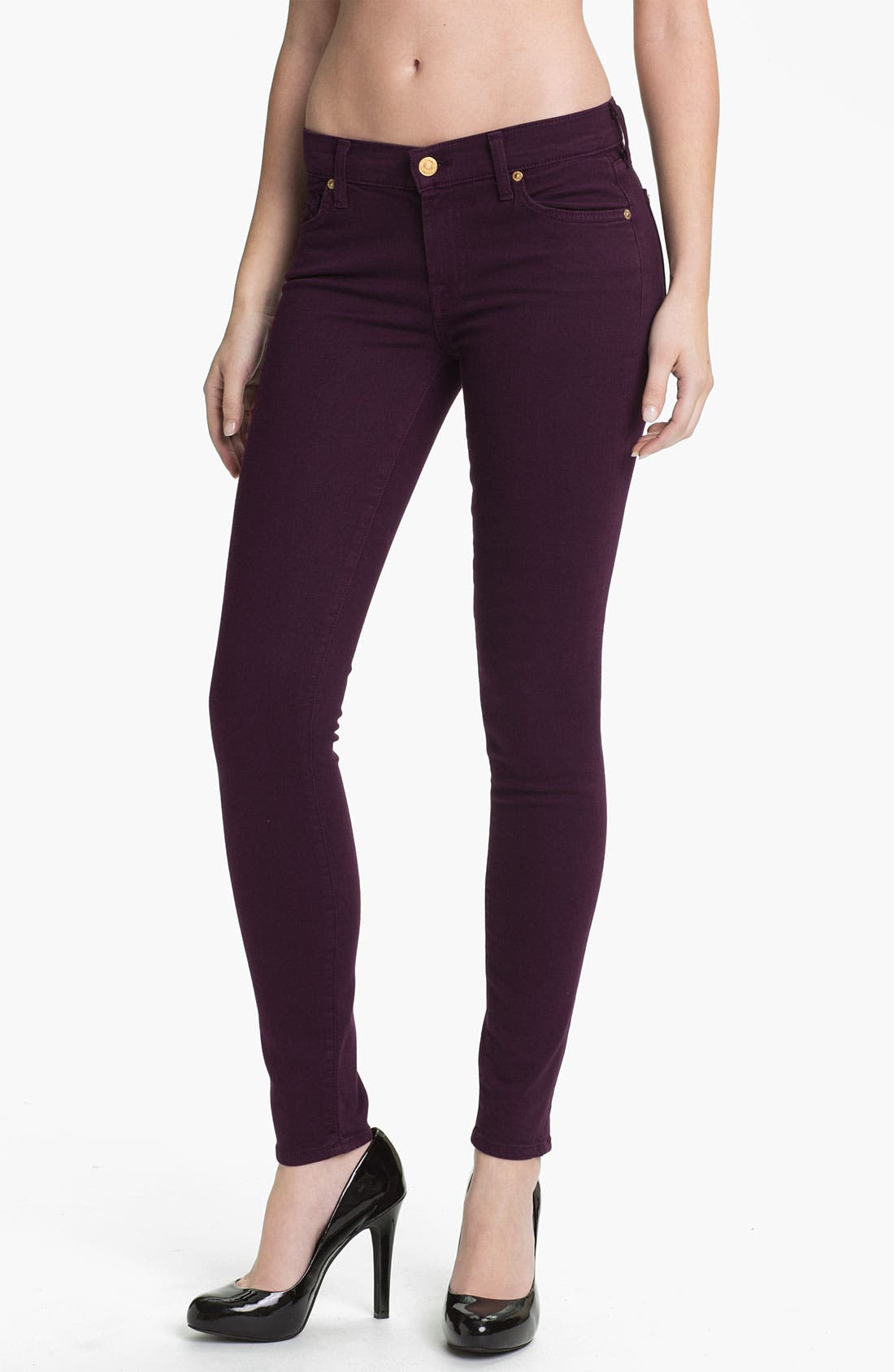 Main Image - 7 For All Mankind® 'Slim Illusion' Overdyed Skinny Stretch Jeans (Bordeaux)