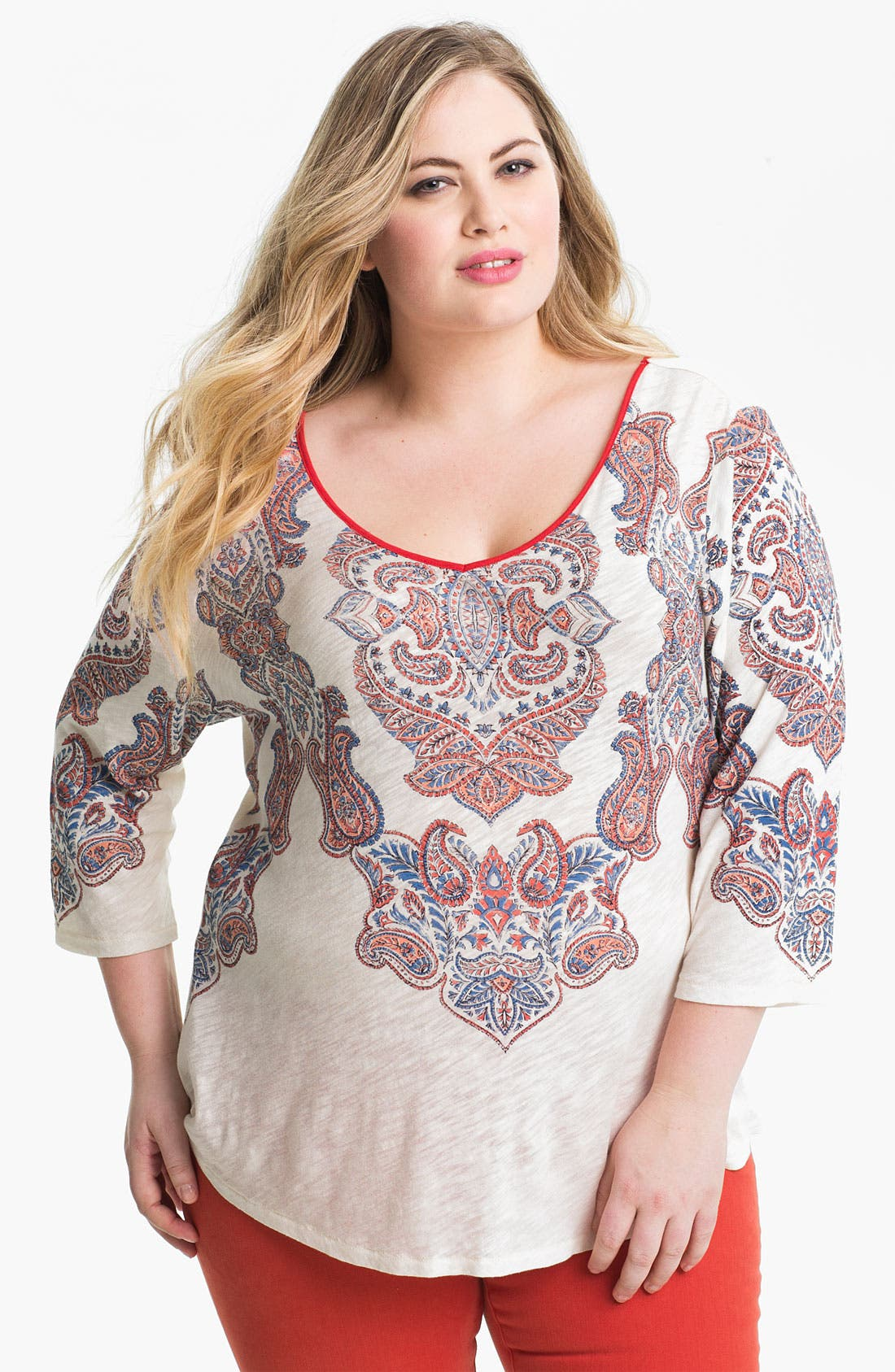 Alternate Image 1 Selected - Lucky Brand Paisley Print Tee (Plus)