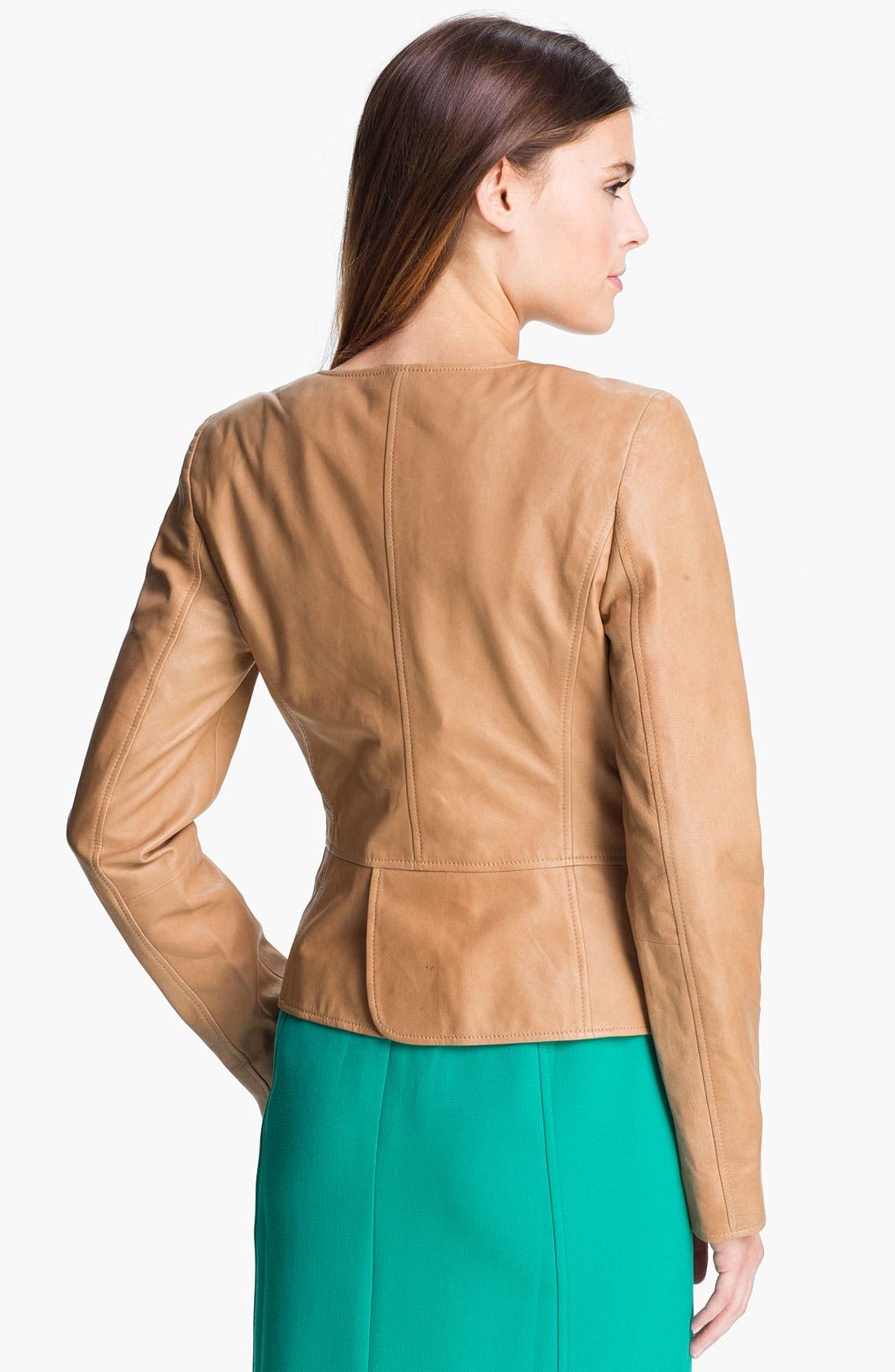 Alternate Image 2  - Halogen® Open Front Leather Jacket