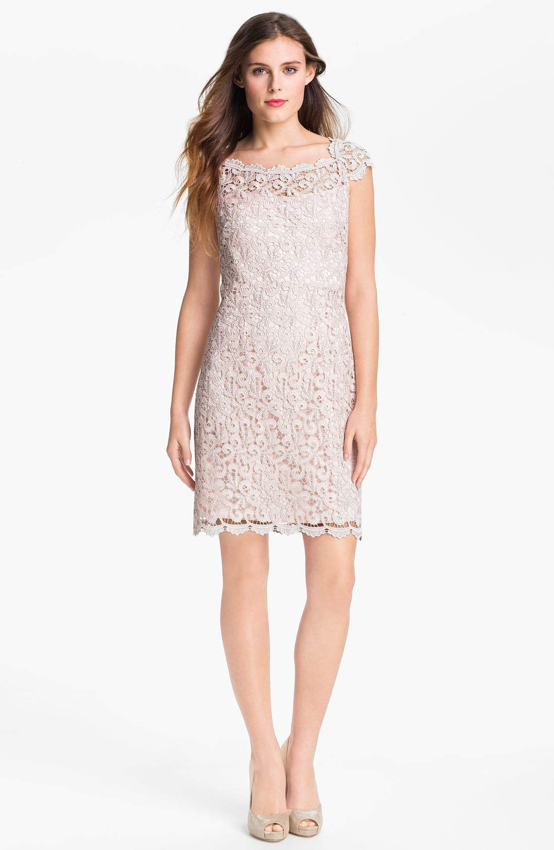 Alternate Image 1 Selected - Suzi Chin for Maggy Boutique Scalloped Lace Sheath Dress