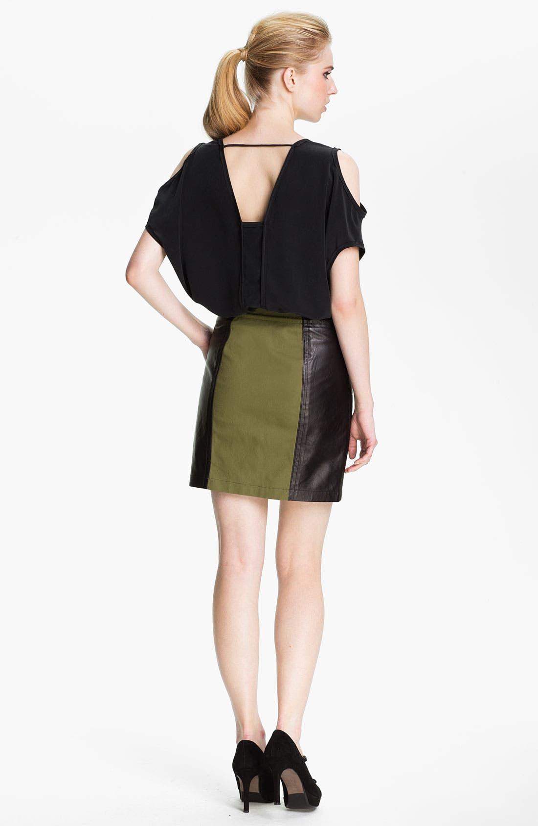 Alternate Image 4  - Cut25 Leather Panel Cotton Skirt