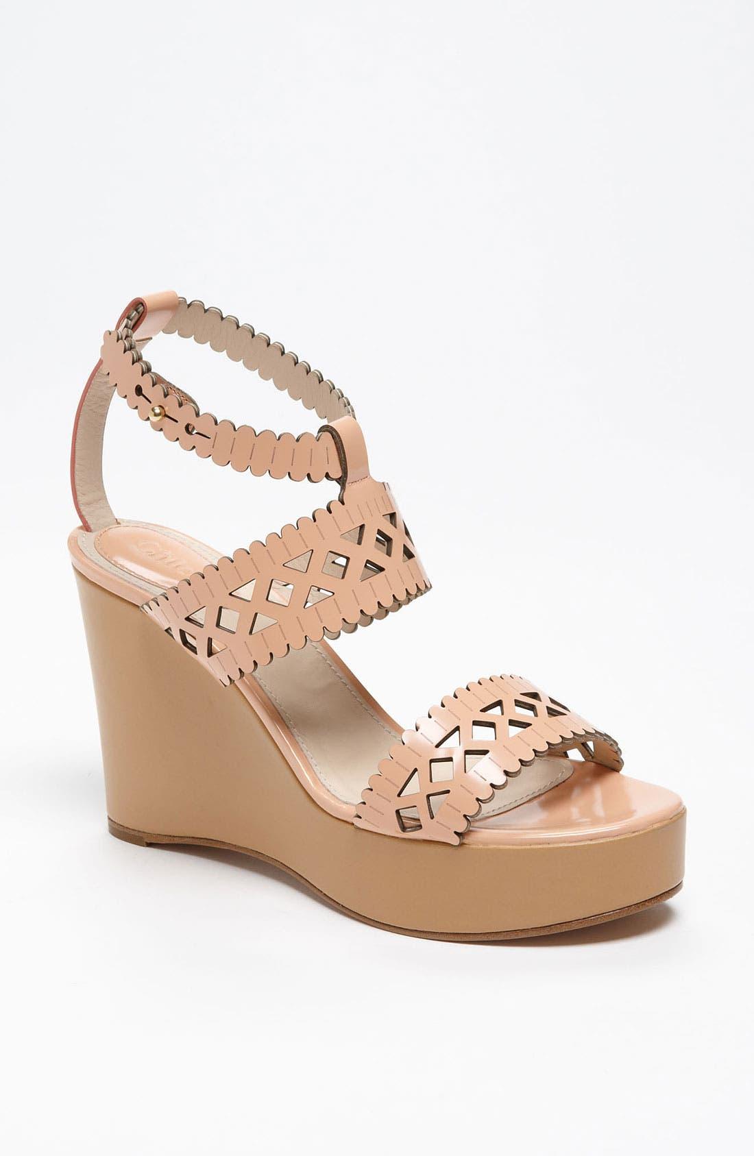 Main Image - Chloé Laser Cut Wedge Sandal