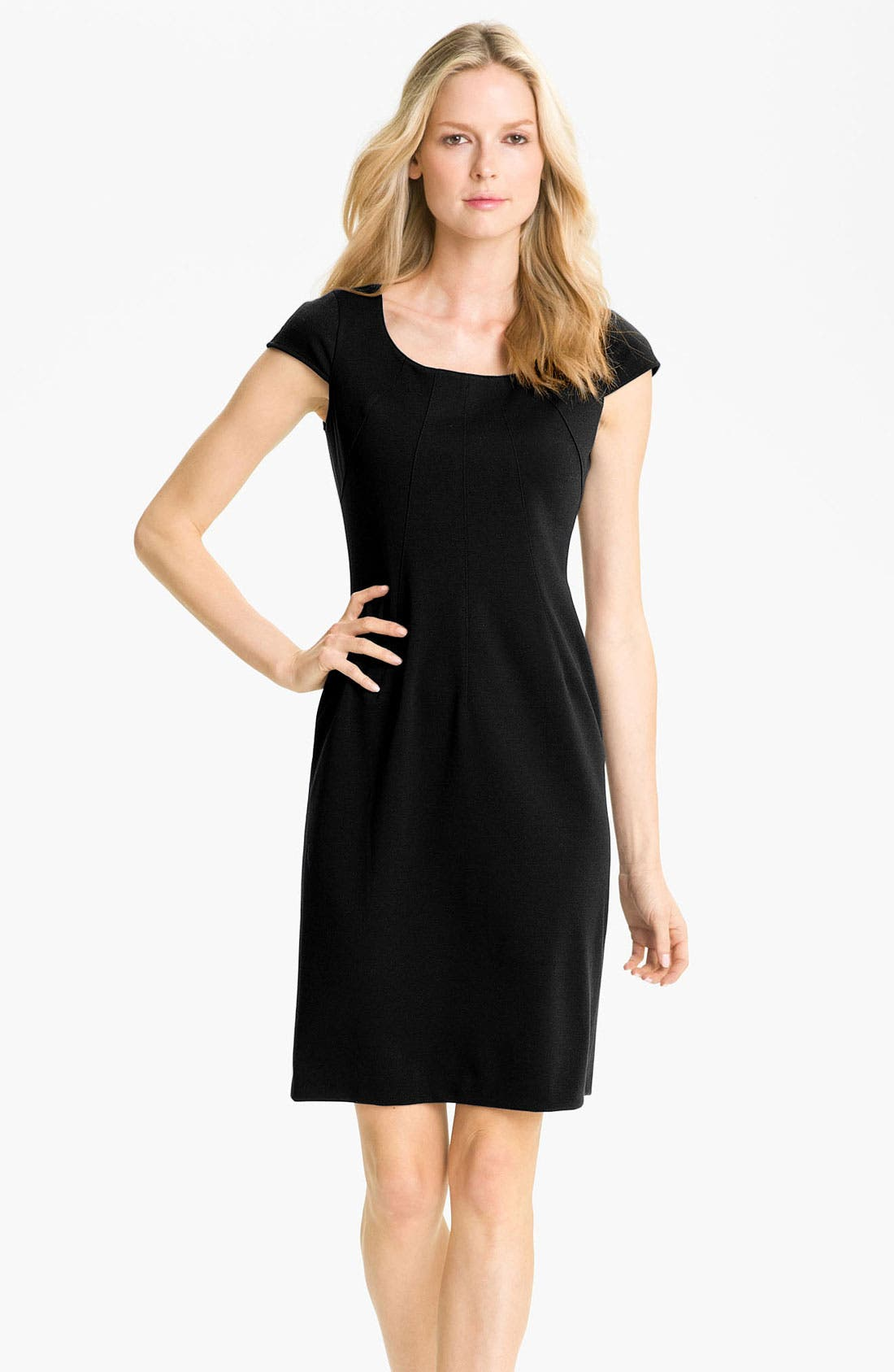 Main Image - Tahari by Arthur S. Levine Cap Sleeve Ponte Sheath Dress