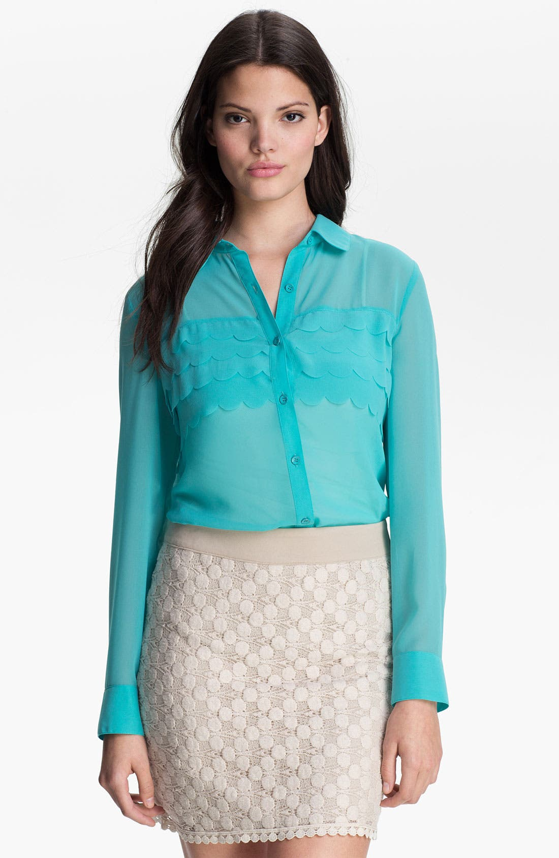 Main Image - Kensie Tiered Petals Chiffon Blouse