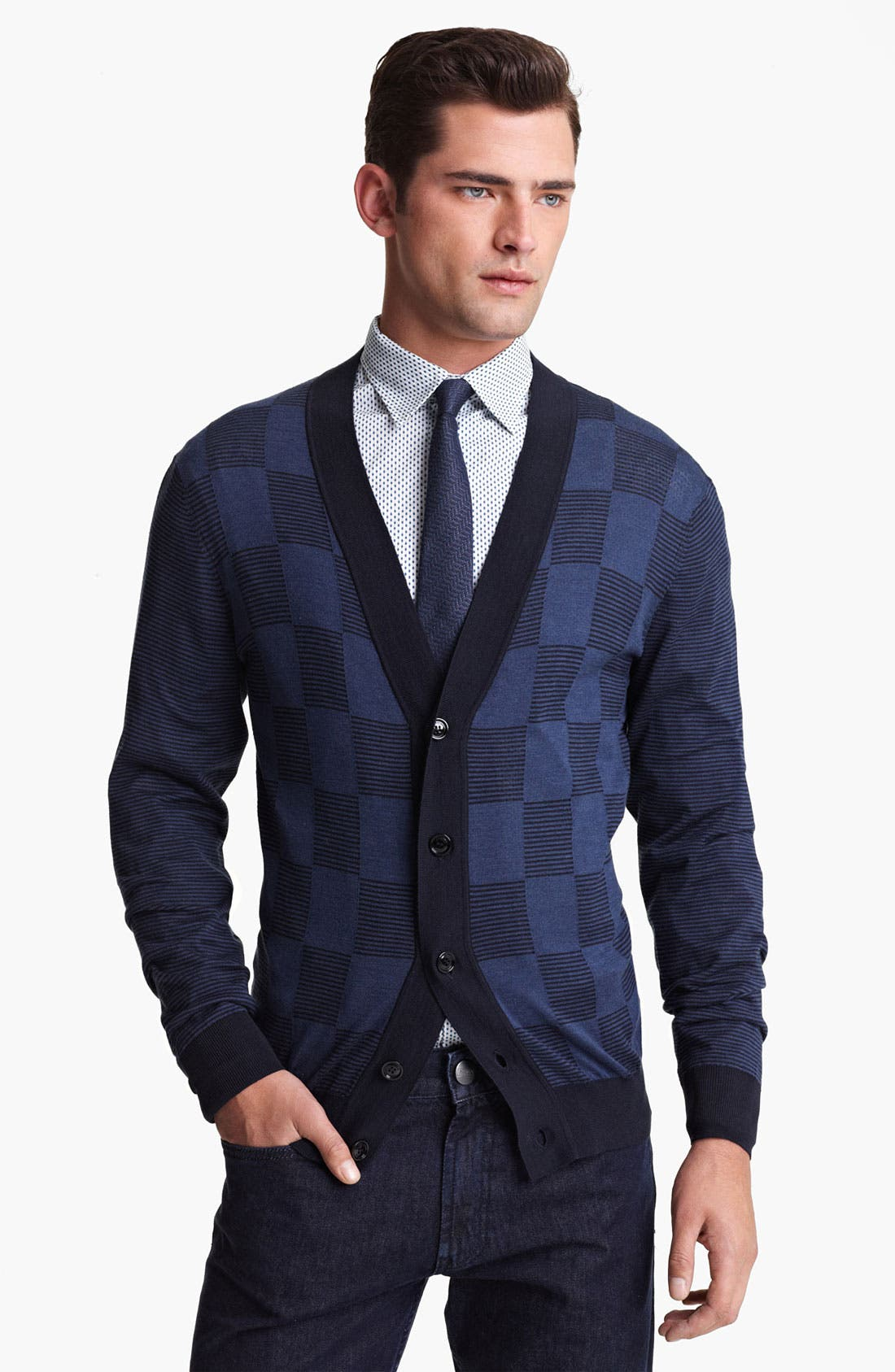 Alternate Image 1 Selected - Armani Collezioni Stripe Check Cardigan