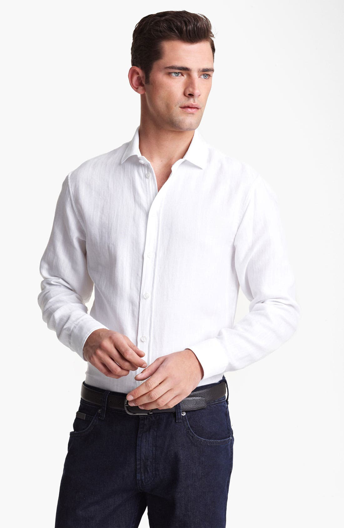 Alternate Image 1 Selected - Armani Collezioni Piqué Woven Sport Shirt