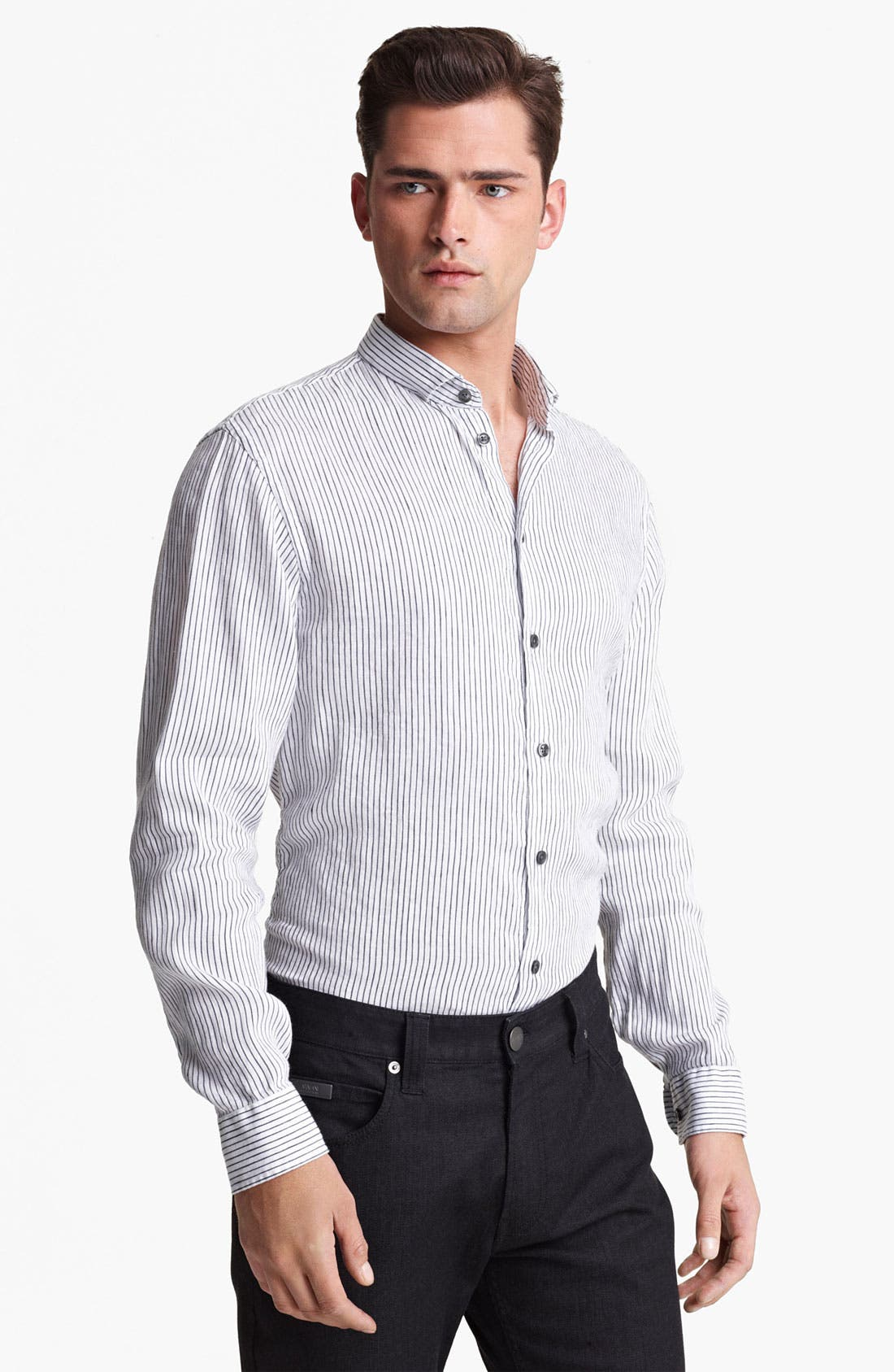 Main Image - Armani Collezioni Stripe Woven Shirt with Stitched Collar