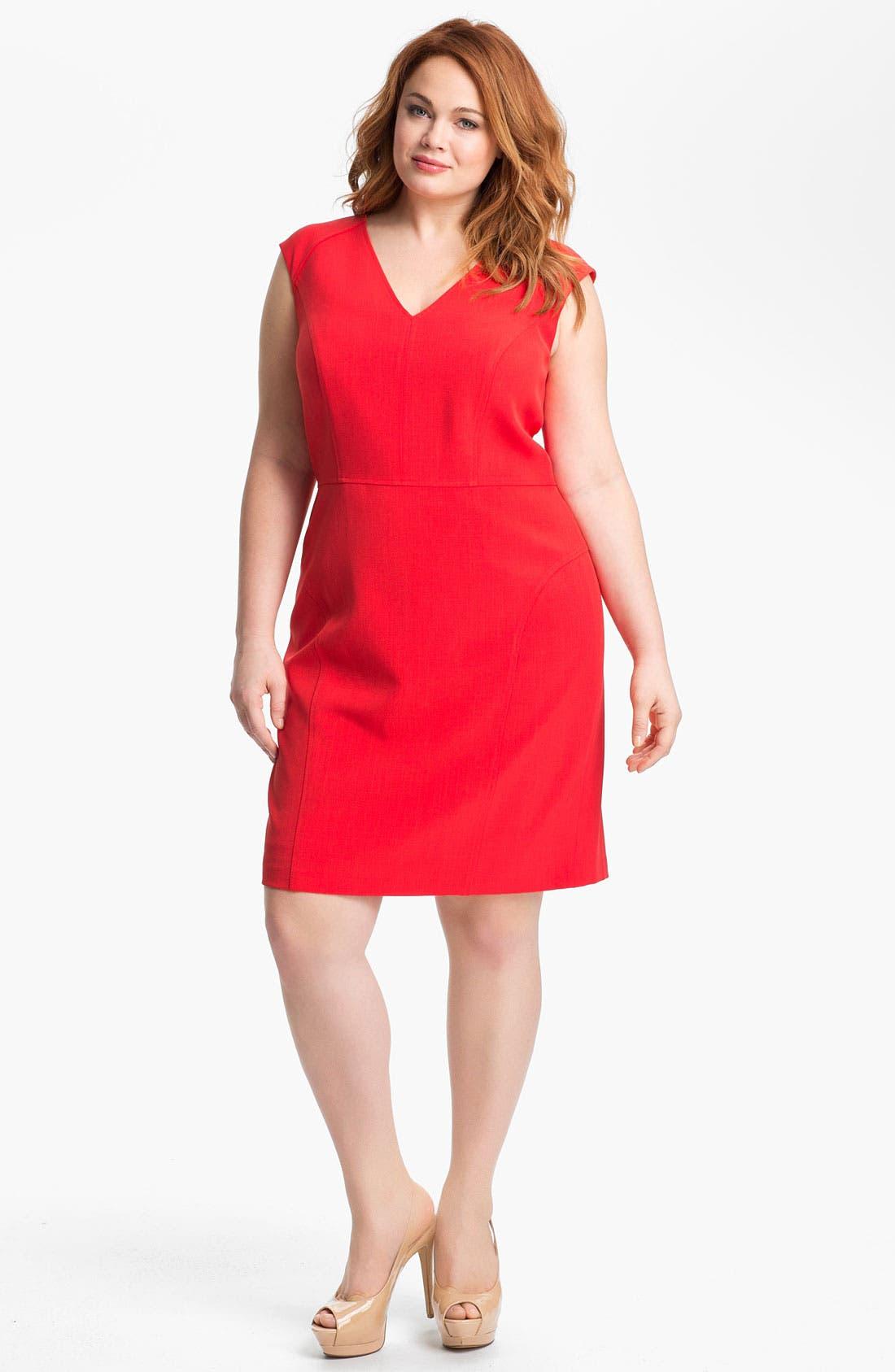 Alternate Image 1 Selected - Adrianna Papell Cap Sleeve Jersey Sheath Dress (Plus Size)
