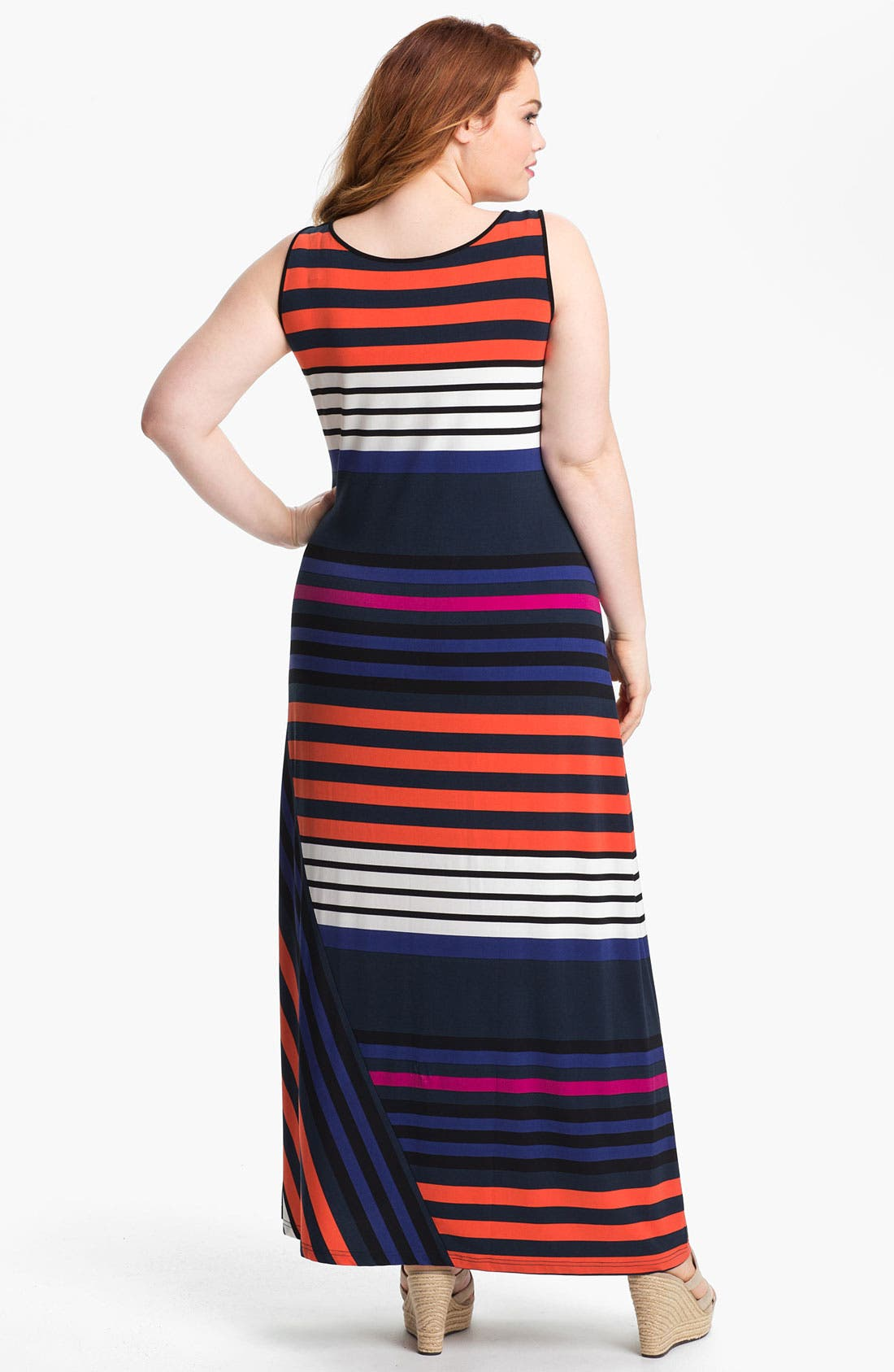 Alternate Image 2  - Calvin Klein Stripe Tank Maxi Dress (Plus)