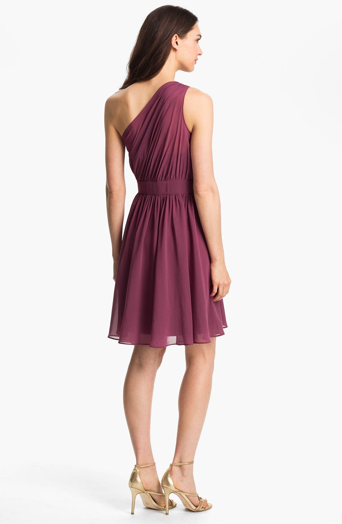 Alternate Image 2  - Suzi Chin for Maggy Boutique One Shoulder Chiffon Dress