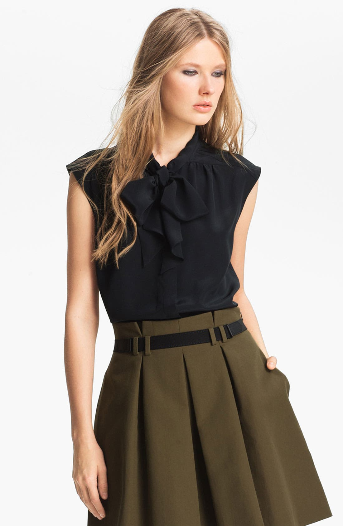 Alternate Image 1 Selected - Miss Wu Tie Neck Crêpe de Chine Blouse (Nordstrom Exclusive)
