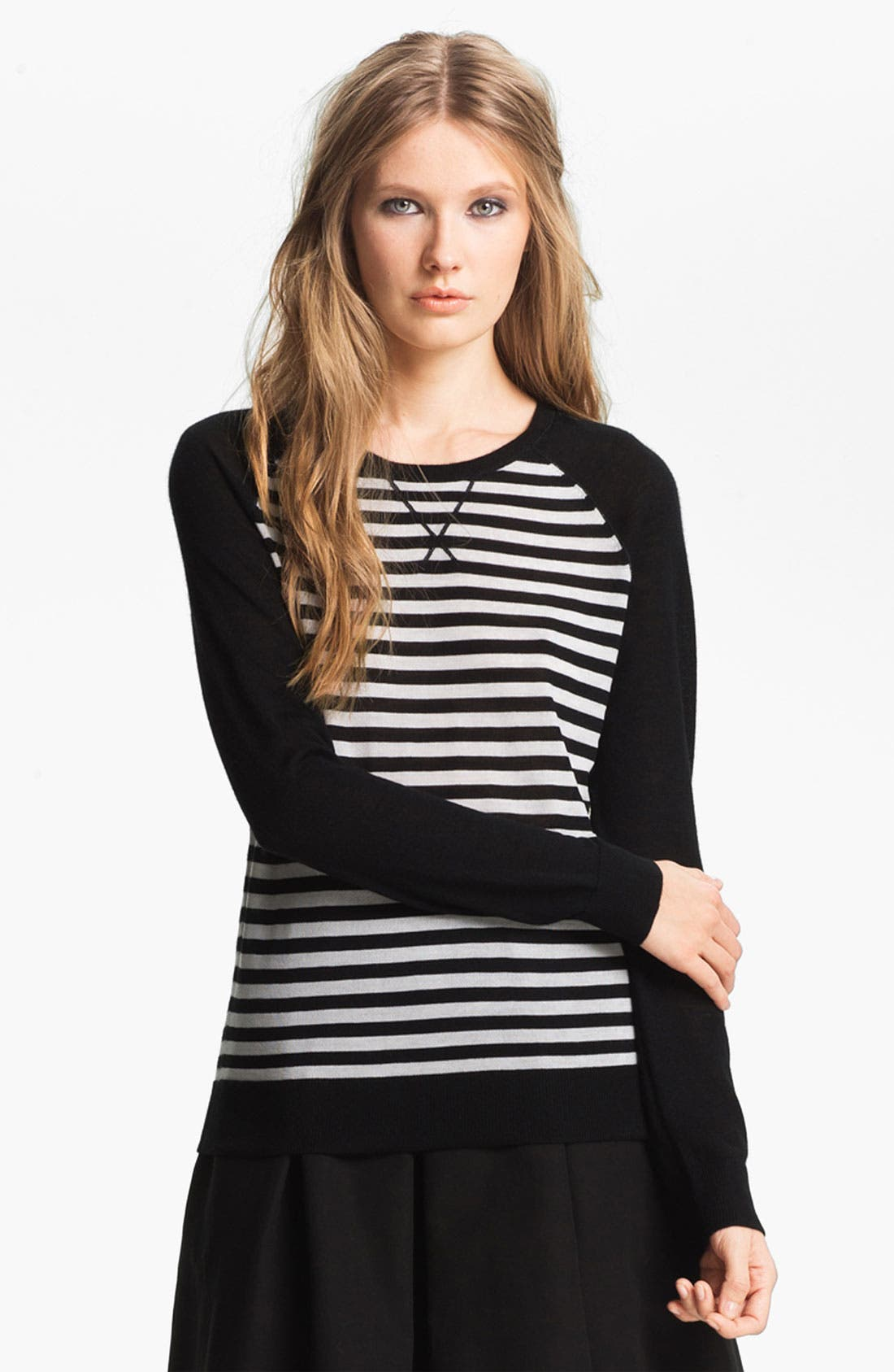 Alternate Image 1 Selected - Miss Wu 'Sofie' Stripe Cashmere Sweater (Nordstrom Exclusive)
