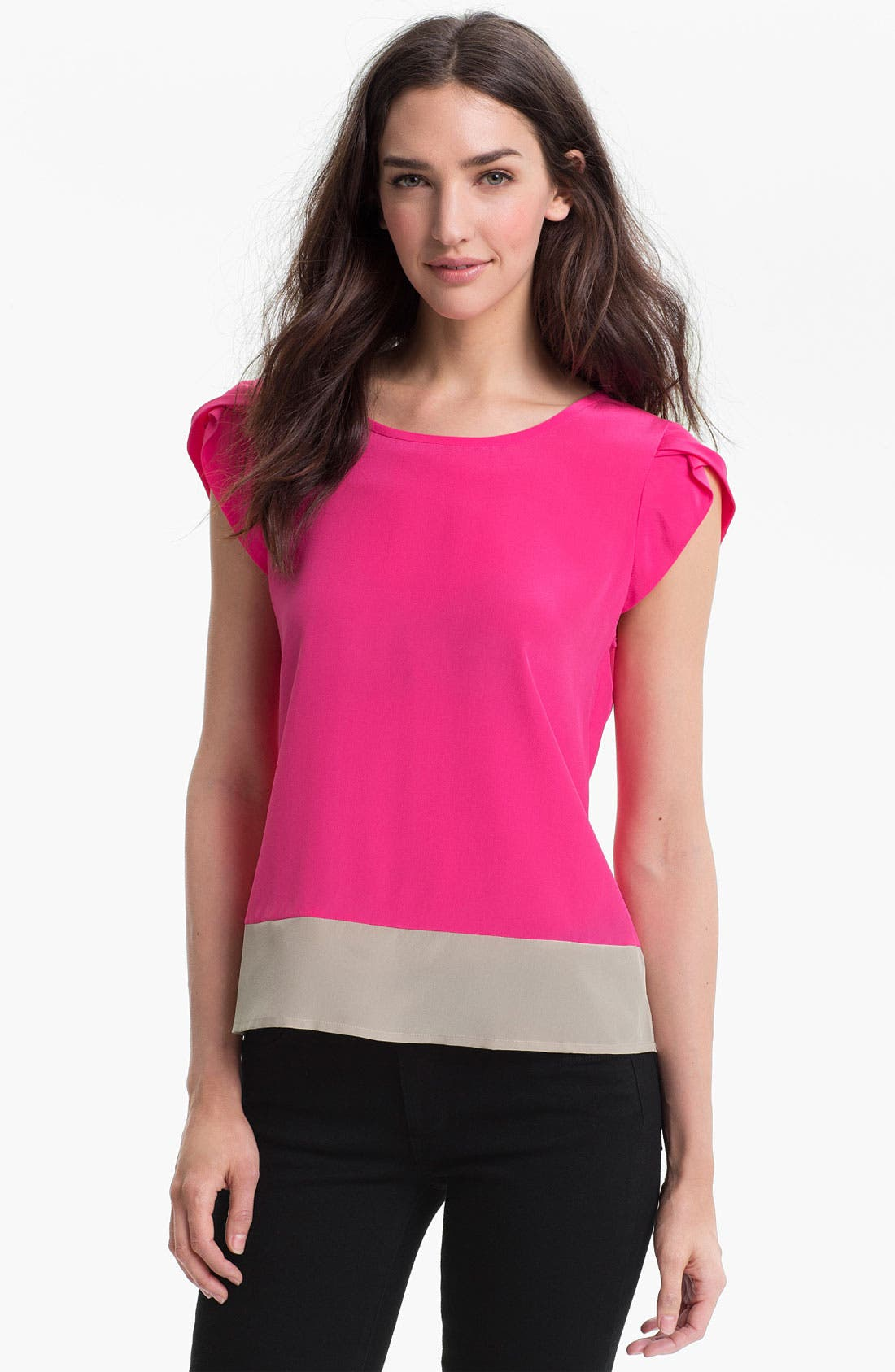 Alternate Image 1 Selected - Trina Turk 'Hawk' Colorblocked Silk Top