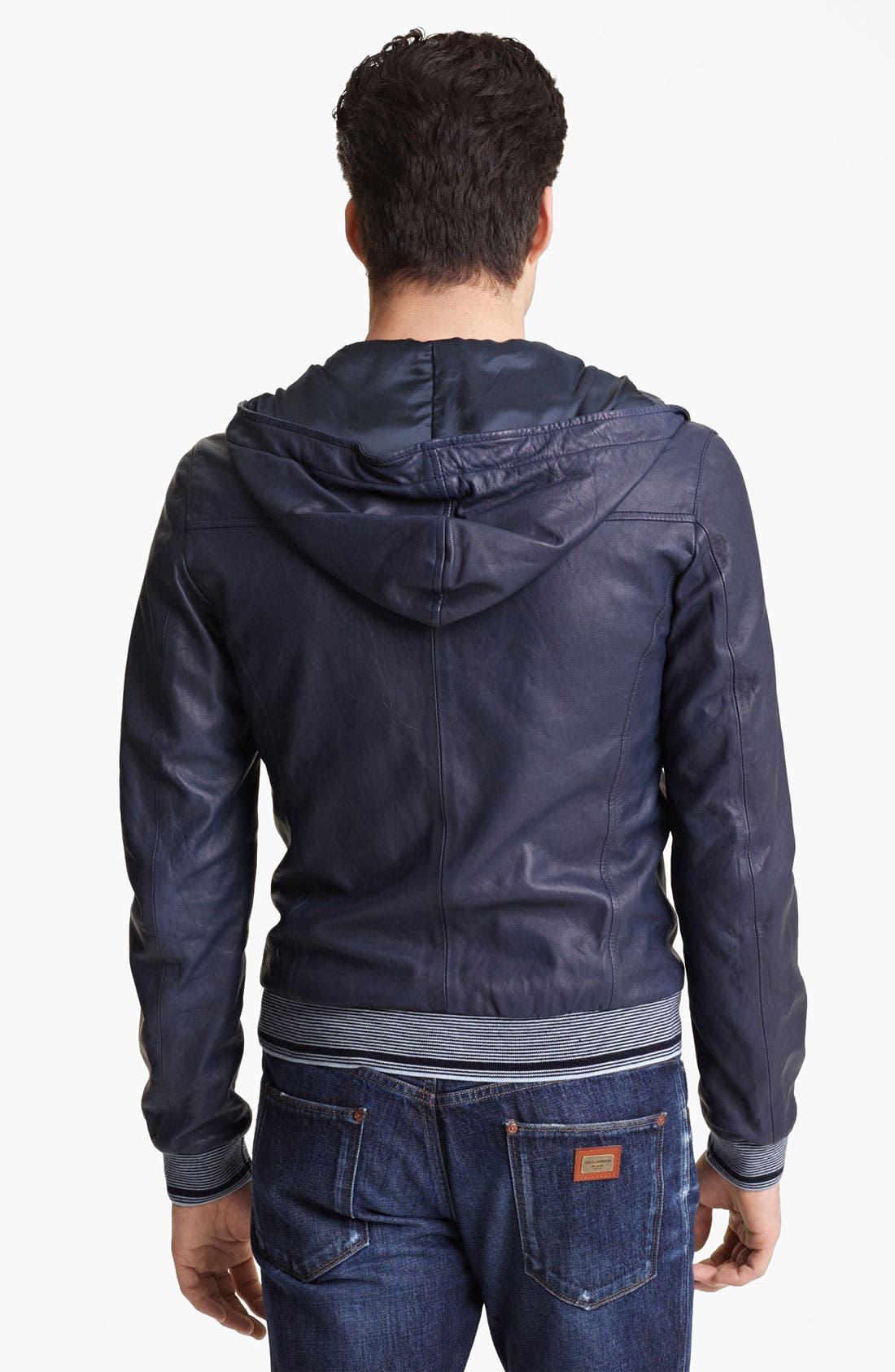 Alternate Image 2  - Dolce&Gabbana Hooded Leather Jacket