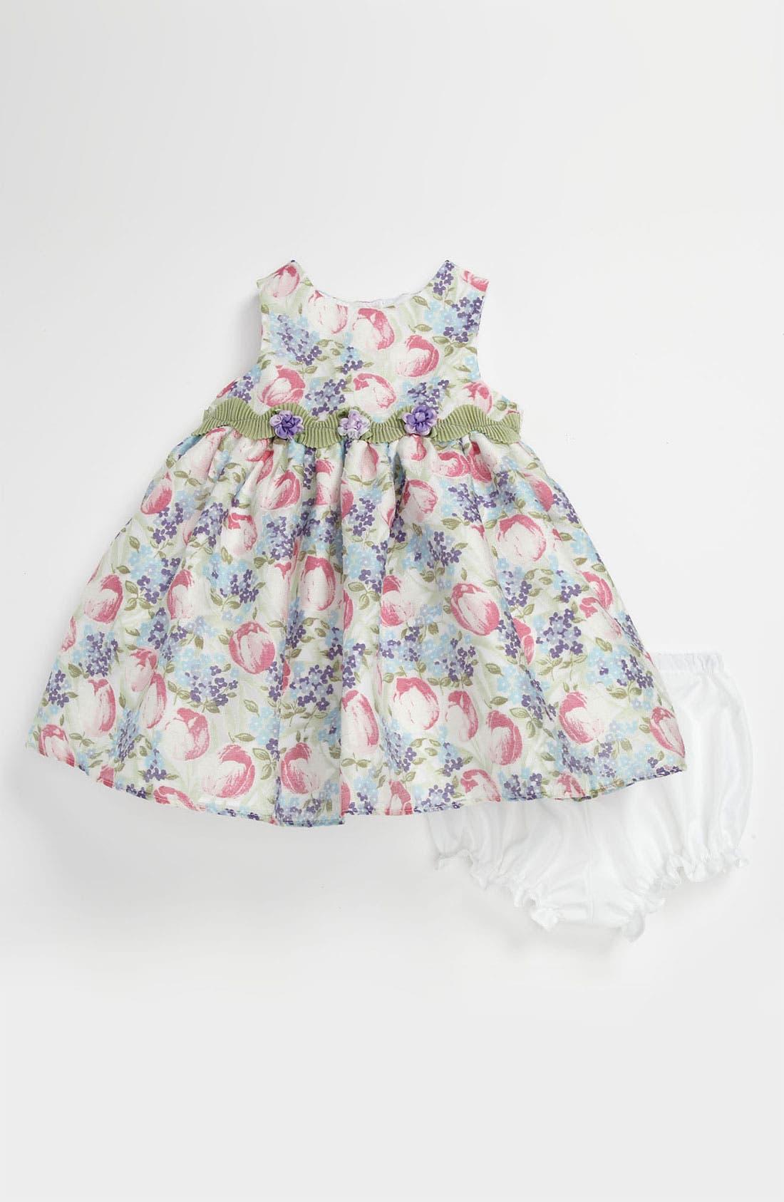 Main Image - Pippa & Julie Burnout Tulip Dress & Bloomers (Baby Girls)