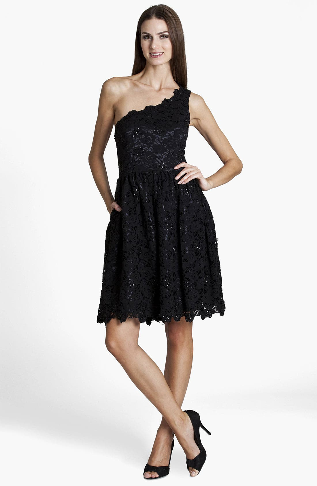 Main Image - JS Boutique One Shoulder Embellished Lace Dress