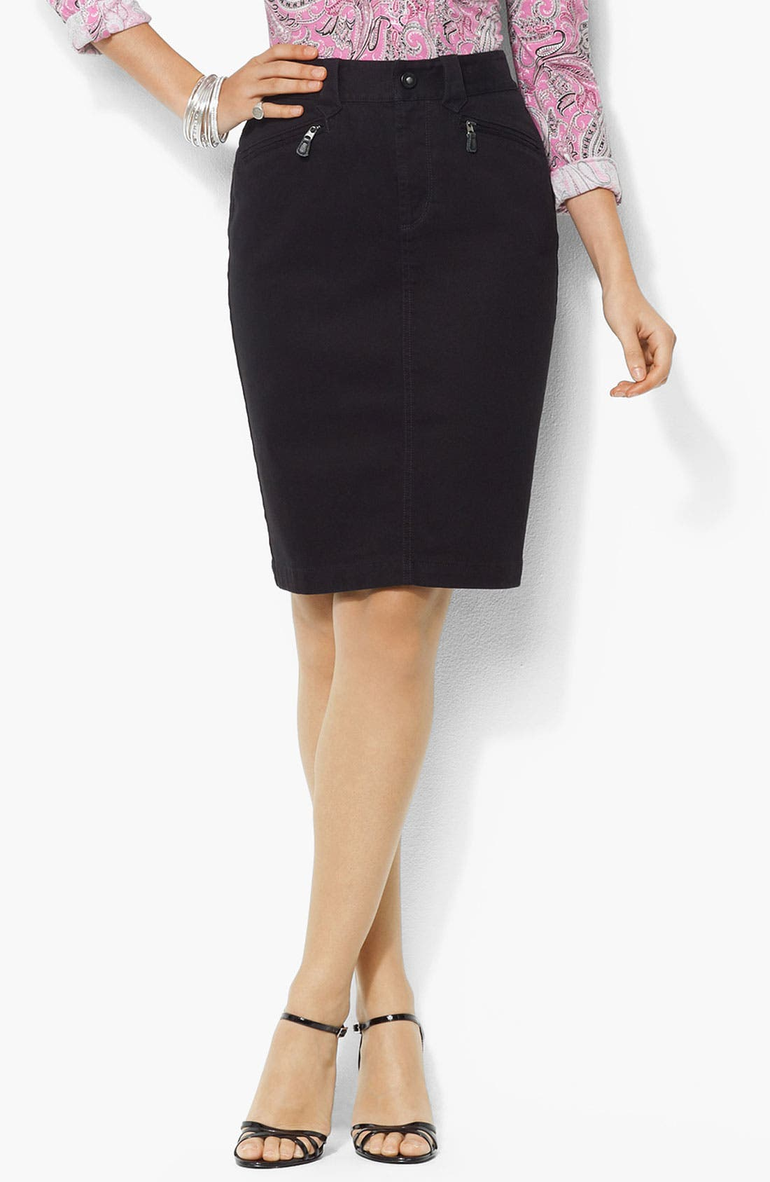 Alternate Image 1 Selected - Lauren Ralph Lauren Denim Skirt (Plus)