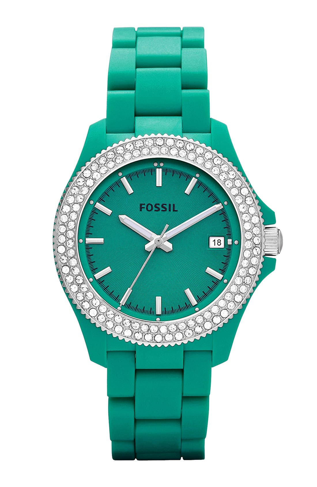 Main Image - Fossil 'Retro Traveler' Crystal Bezel Bracelet Watch, 36mm