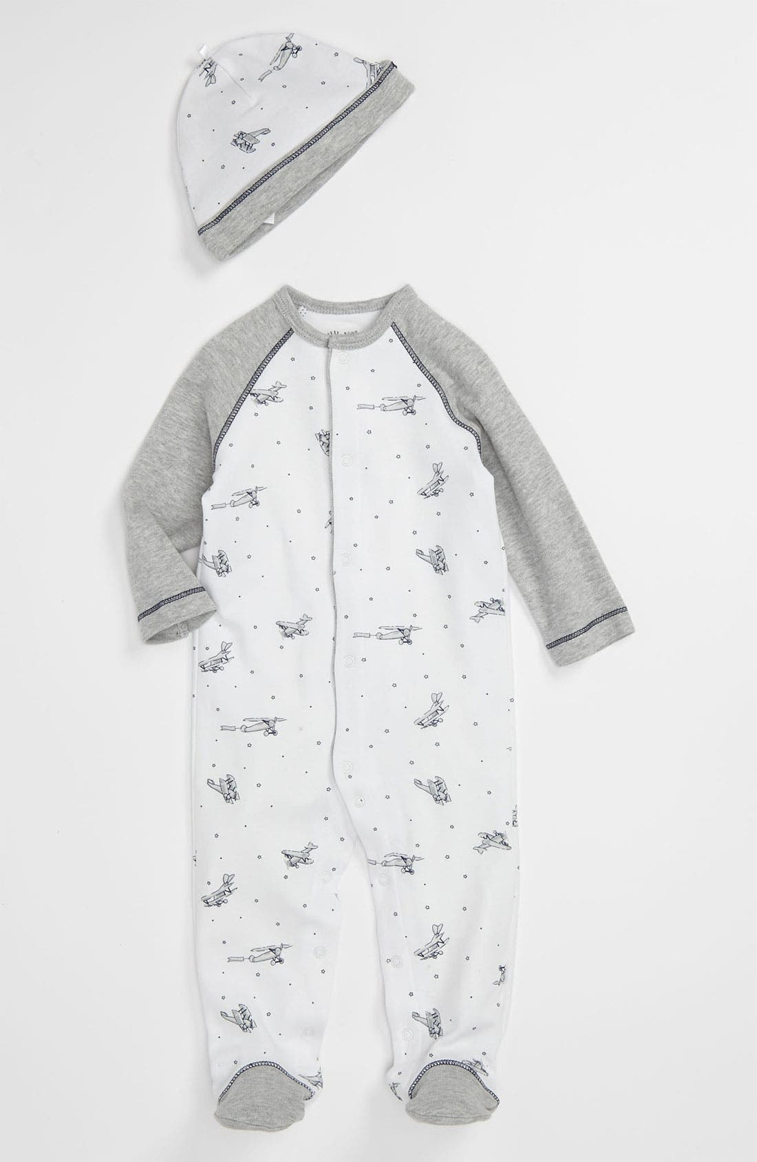 Alternate Image 1 Selected - Little Me Footie & Hat (Baby)