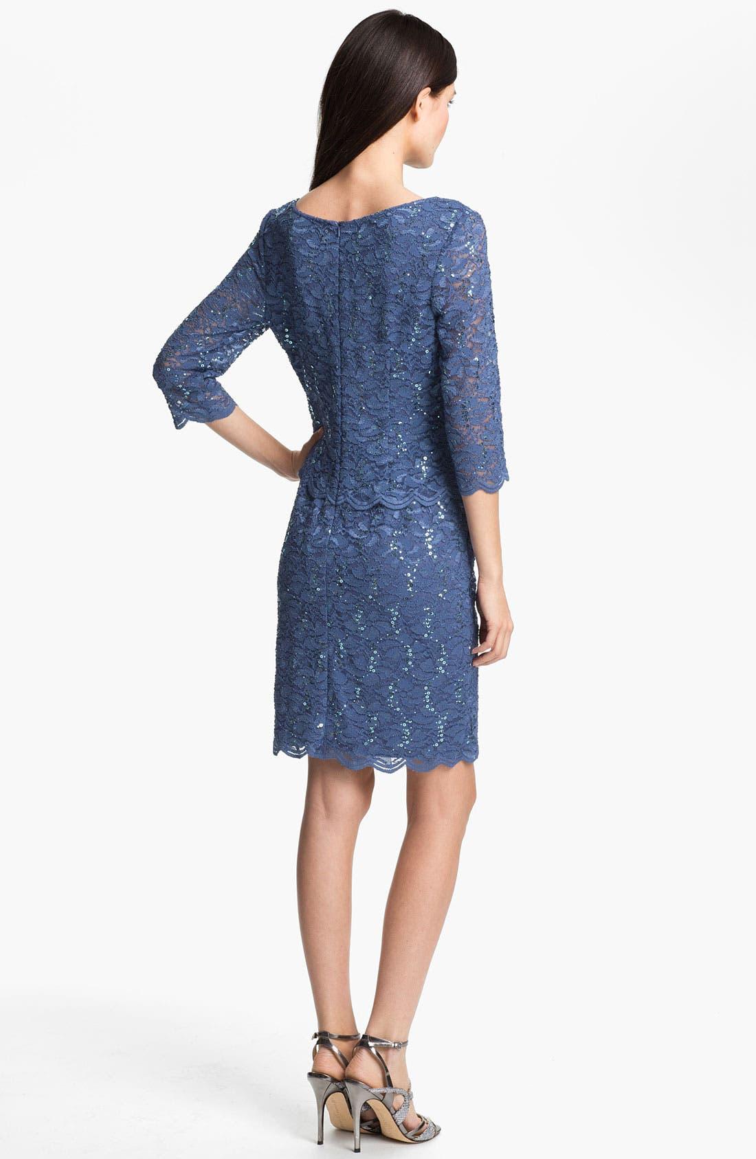 Alternate Image 2  - Alex Evenings Shimmering Lace Sheath Dress