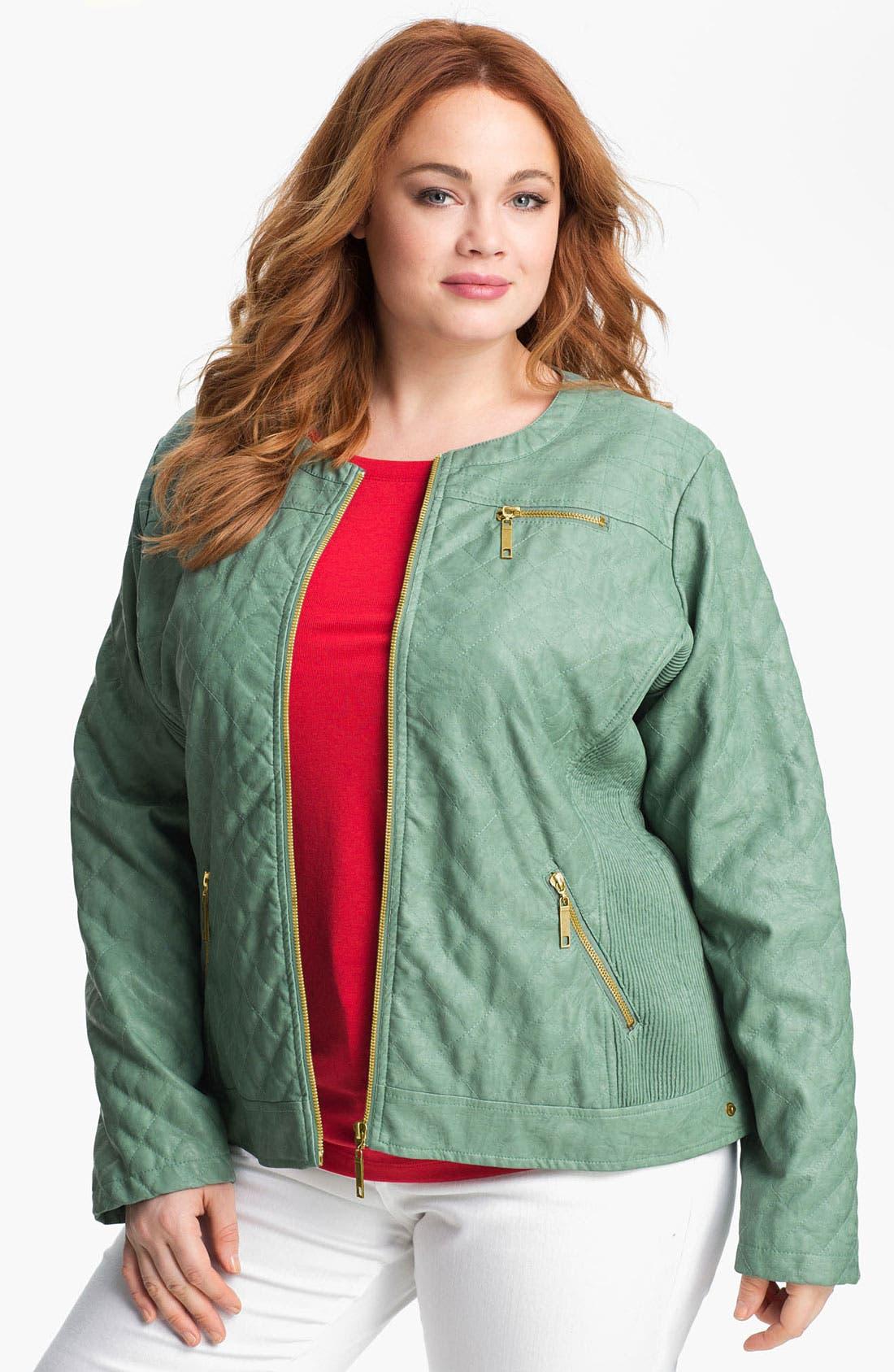 Main Image - Jou Jou Quilted Faux Leather Jacket (Plus)