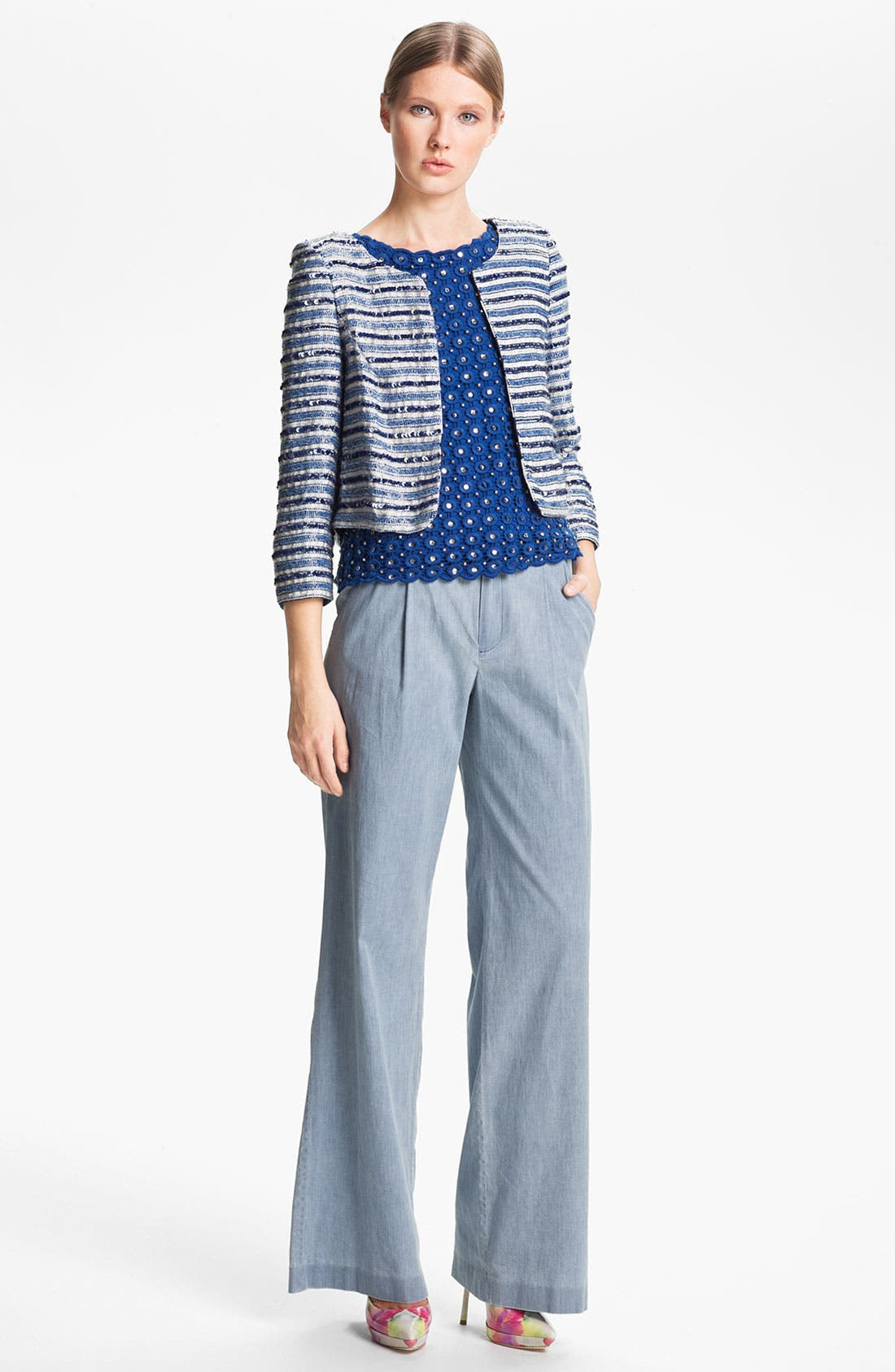 Alternate Image 5  - Alice + Olivia 'Eric' Wide Leg Chambray Denim Pants