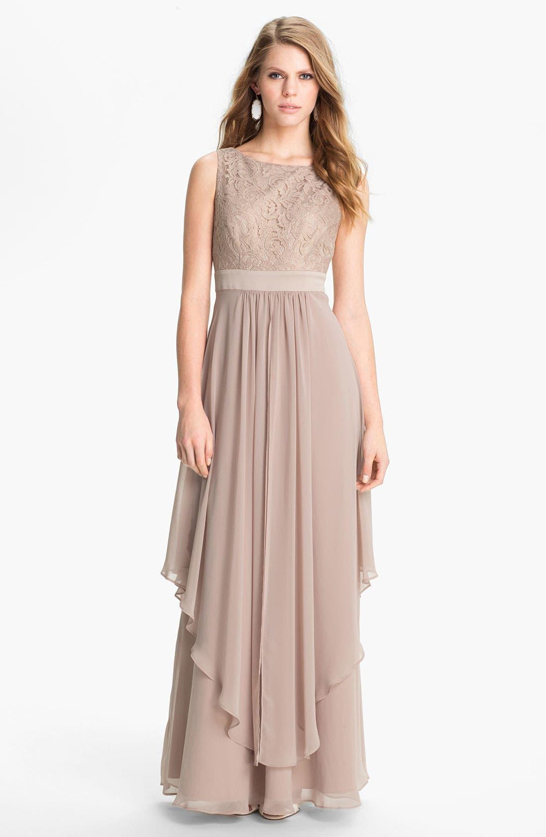 Alternate Image 1  - Eliza J Sleeveless Lace & Chiffon Gown