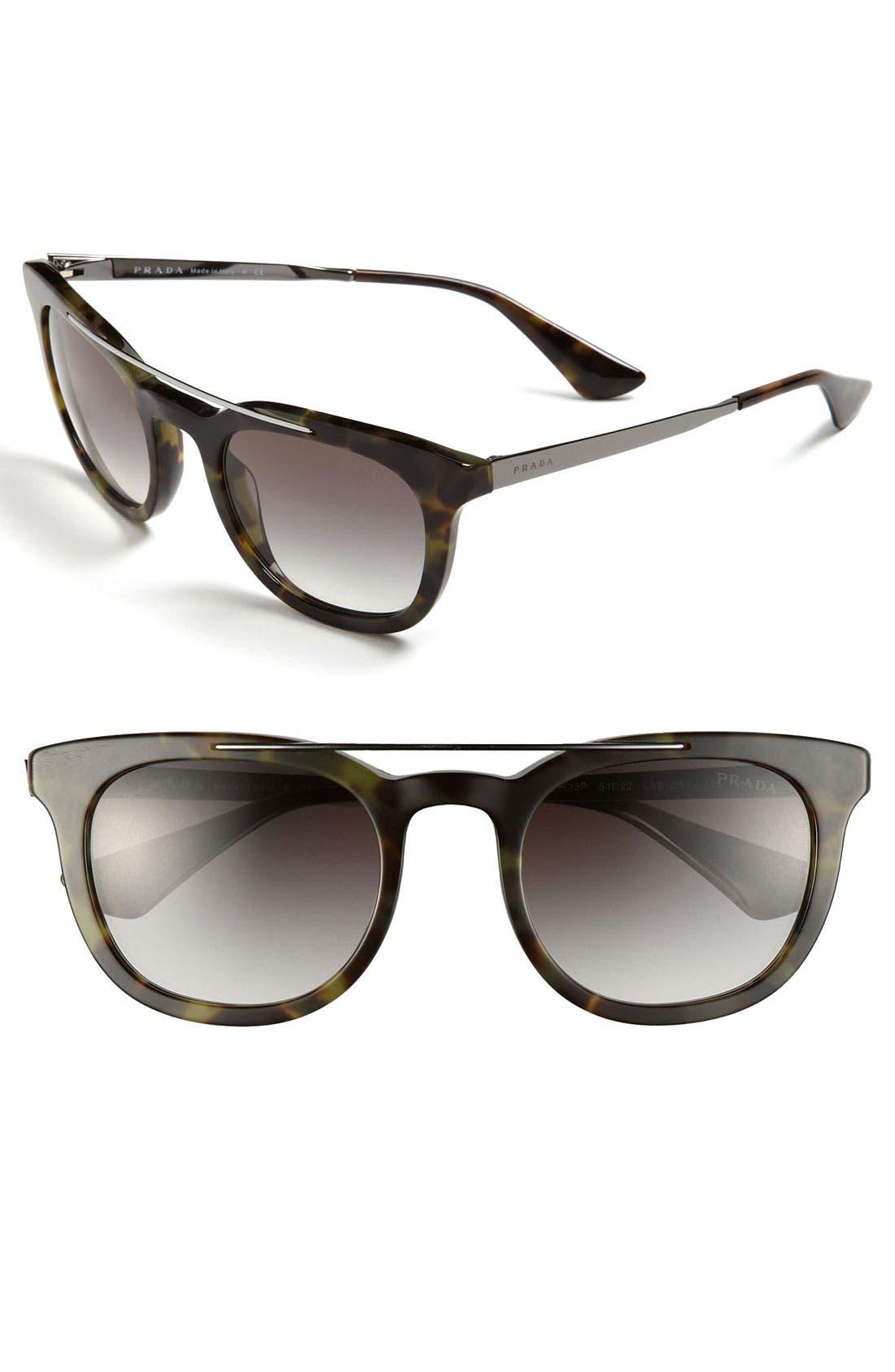 Alternate Image 1 Selected - Prada 'Fashion Browbar' 51mm Sunglasses