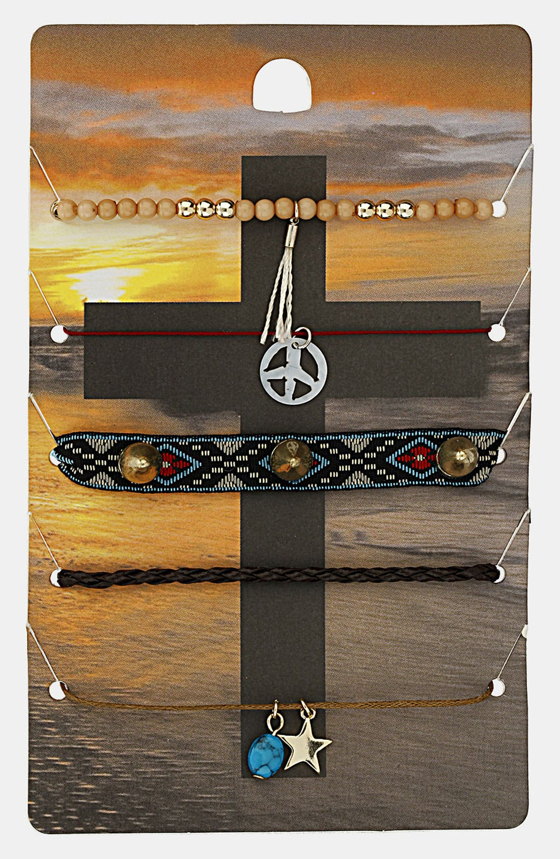 Alternate Image 1 Selected - Topshop 'Peace' Plaited Bracelets (5-Pack)