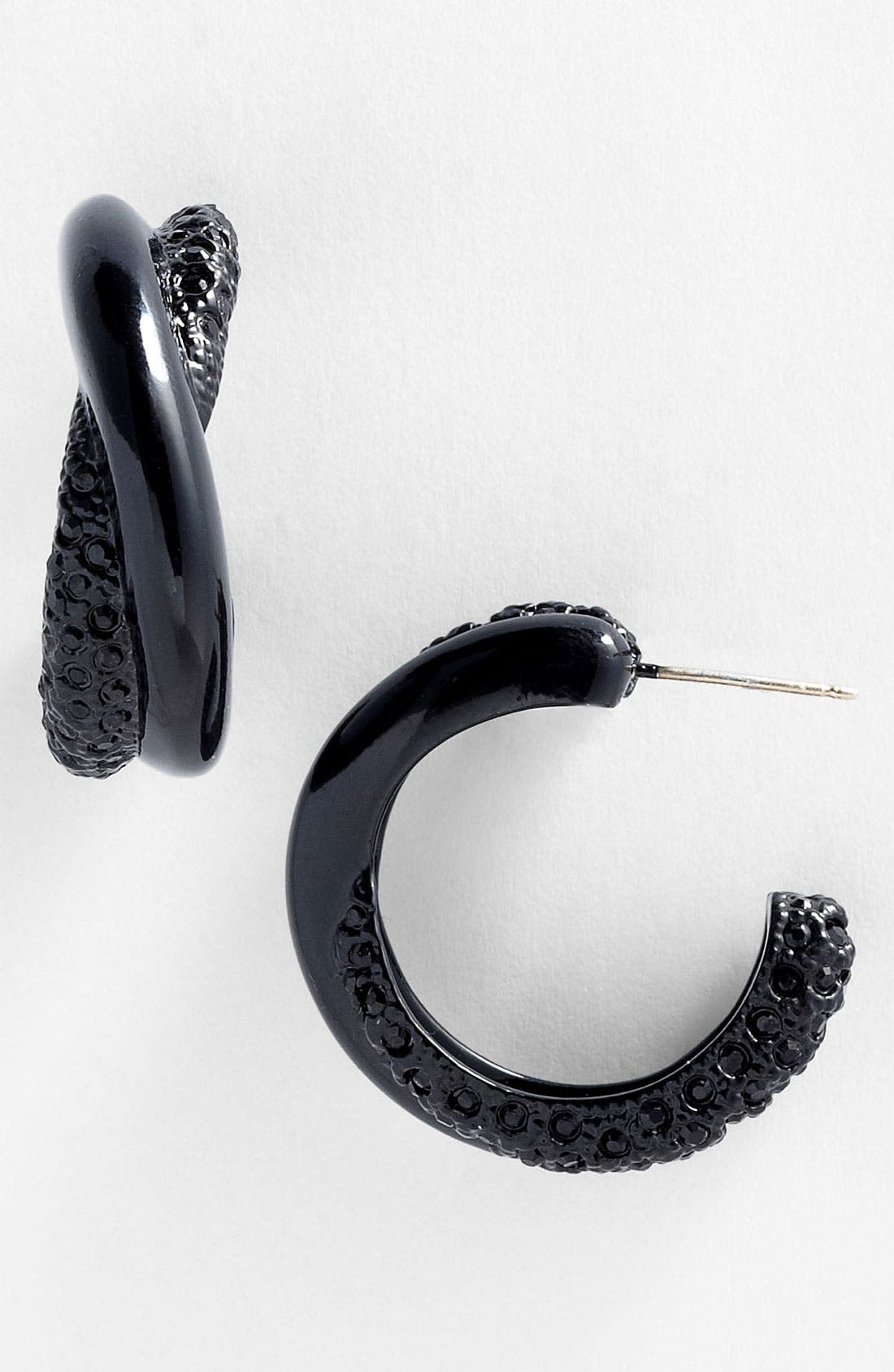 Main Image - St. John Collection 'Black Clad' Pavé Hoop Earrings