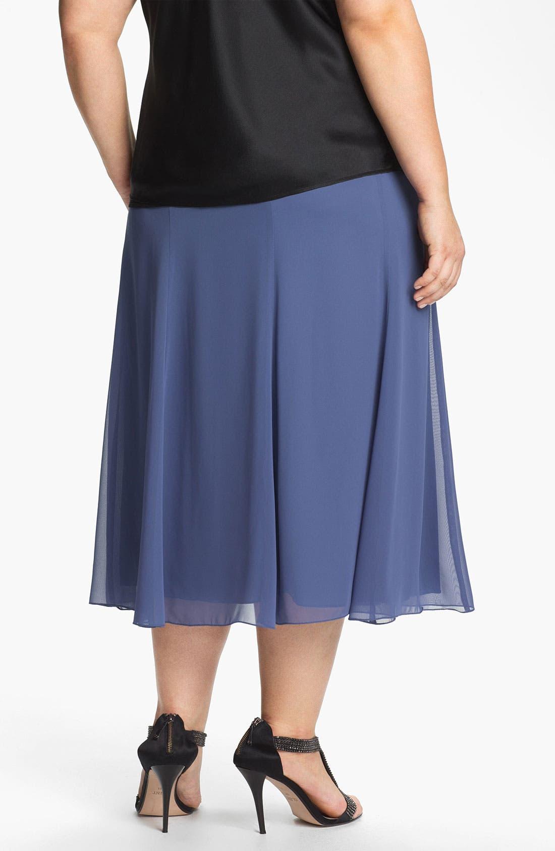 Alternate Image 2  - Alex Evenings Chiffon Skirt (Plus Size)