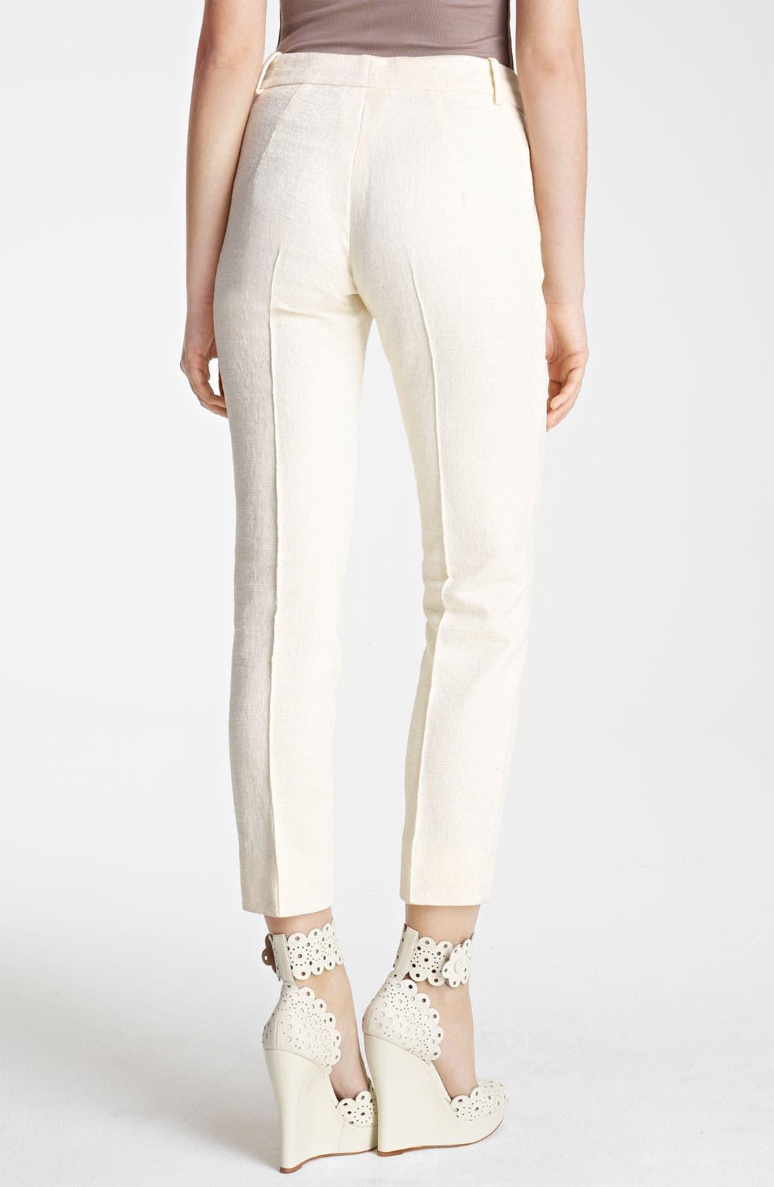 Alternate Image 2  - Oscar de la Renta Skinny Textured Crop Pants