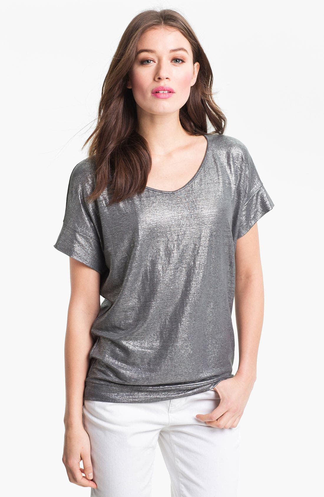 Main Image - Eileen Fisher Metallic Knit Wedge Top (Online Only)