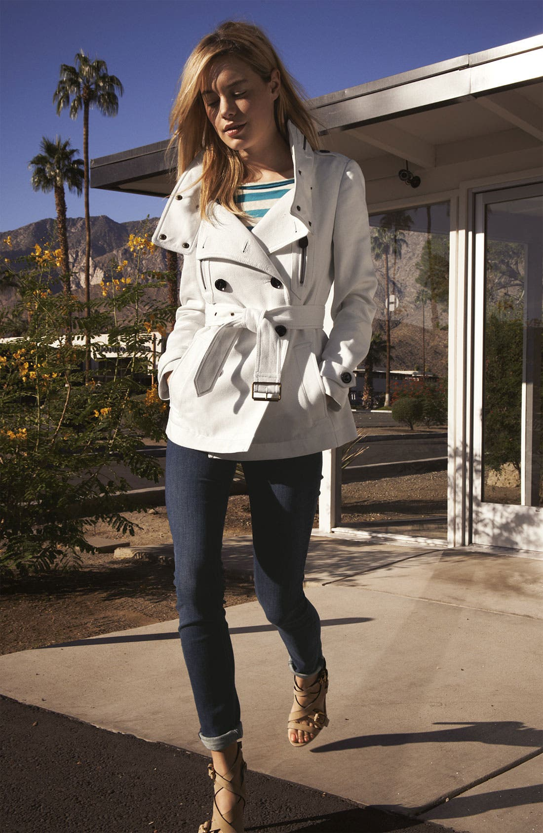 Main Image - Burberry Brit Trench Coat, Tee & Jeans