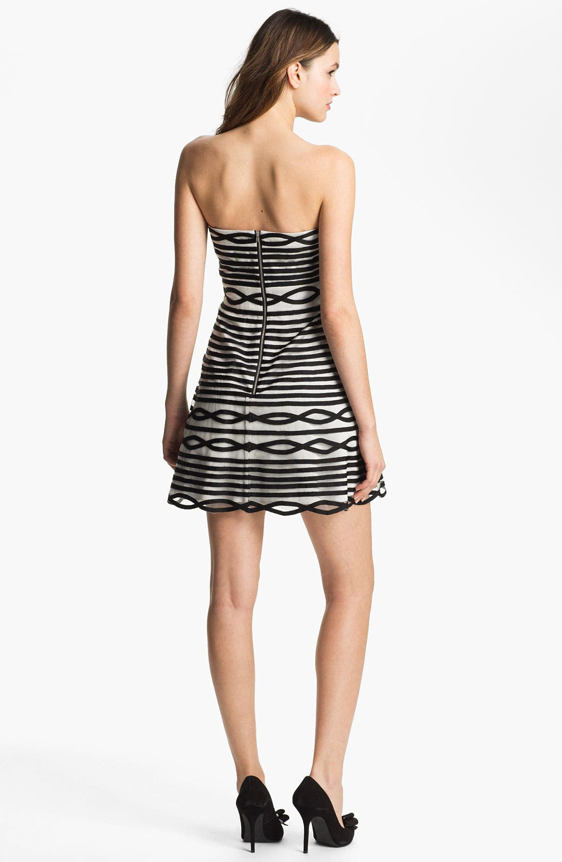 Alternate Image 2  - Adrianna Papell Stripe Tulle Fit & Flare Dress