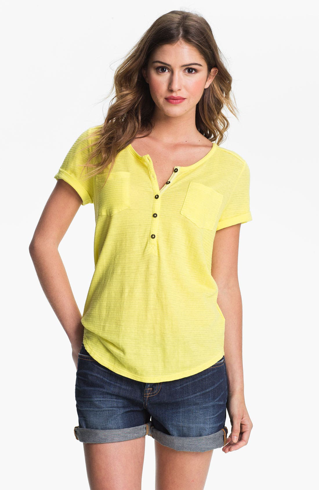 Alternate Image 1 Selected - Lucky Brand 'Christa' Henley Tee (Online Exclusive)