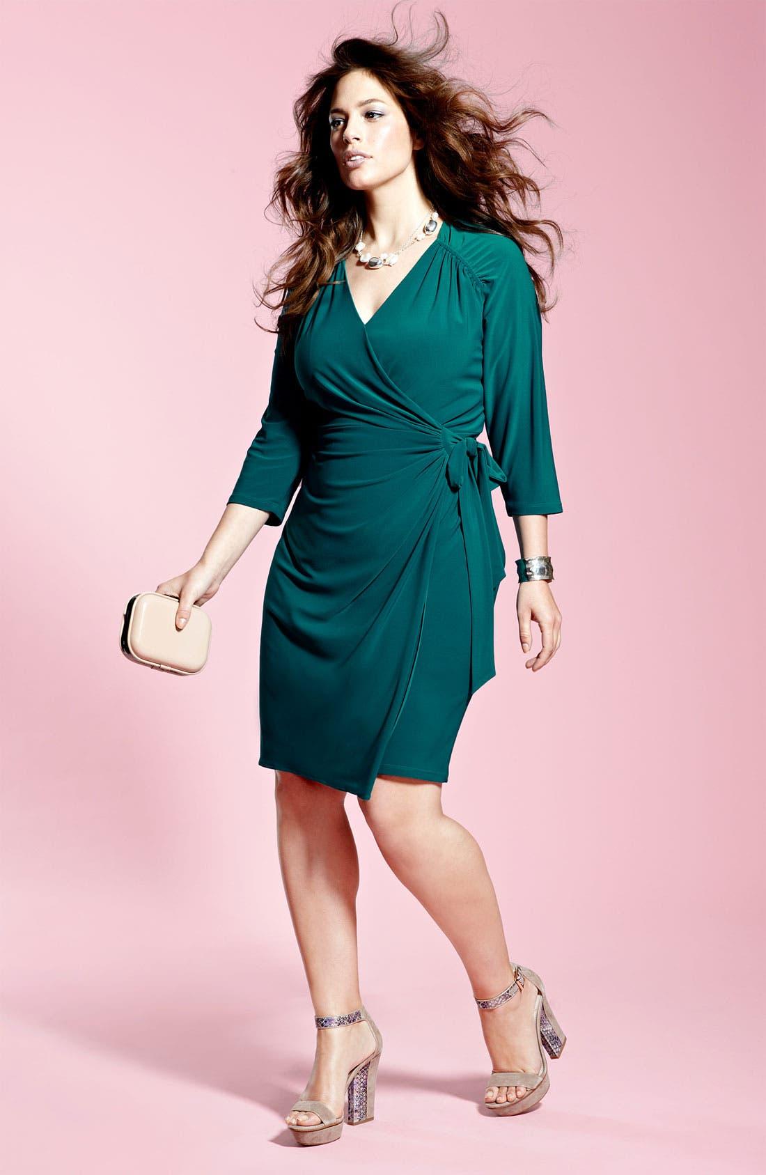 Alternate Image 3  - Suzi Chin for Maggy Boutique Jersey Faux Wrap Dress (Plus)