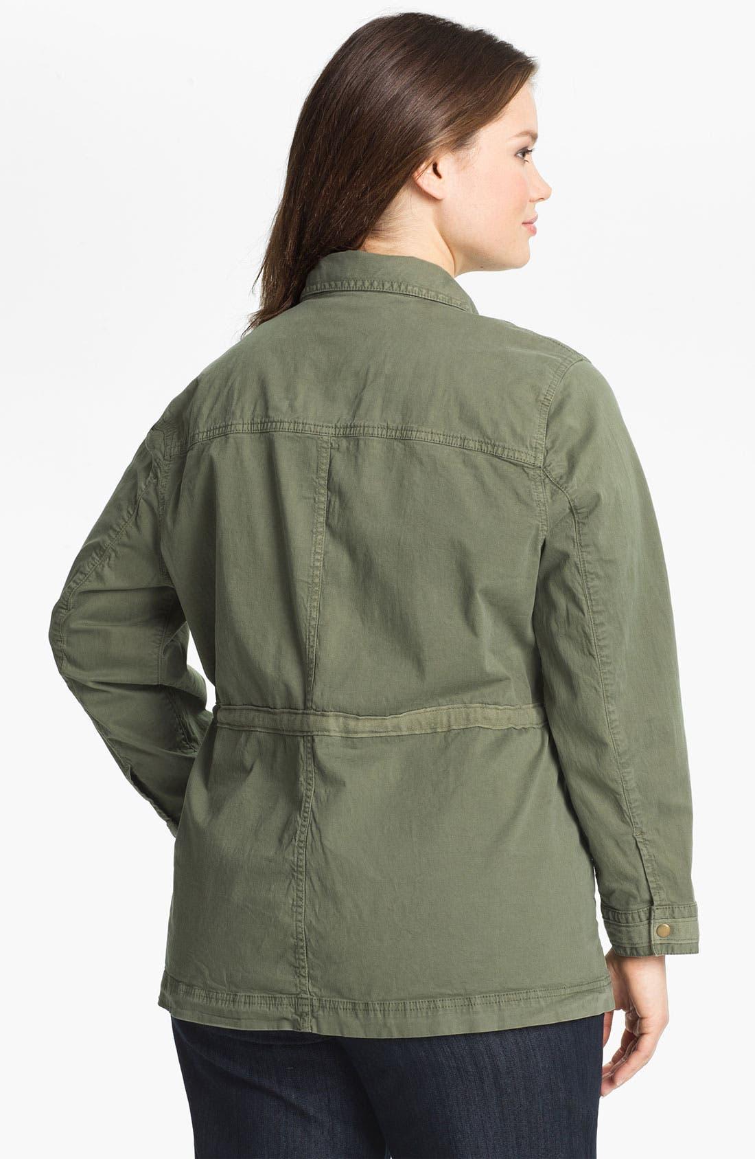 Alternate Image 2  - Lucky Brand Cotton Military Jacket (Plus Size)