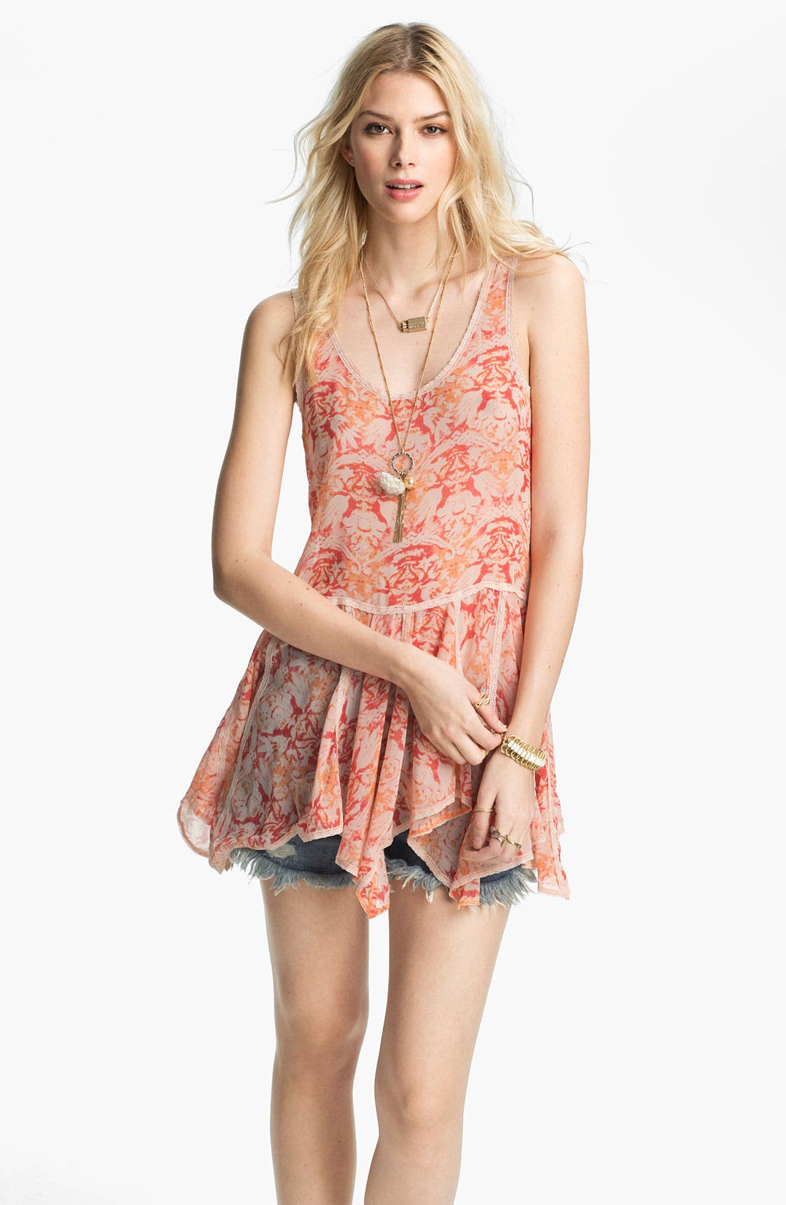 Alternate Image 1 Selected - Free People Print Chiffon Peplum Tunic