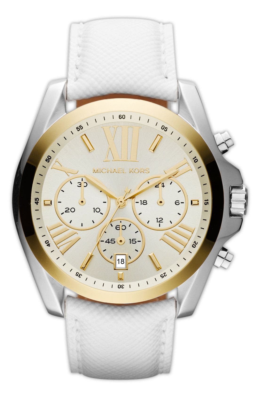 Main Image - Michael Kors 'Bradshaw' Leather Strap Watch