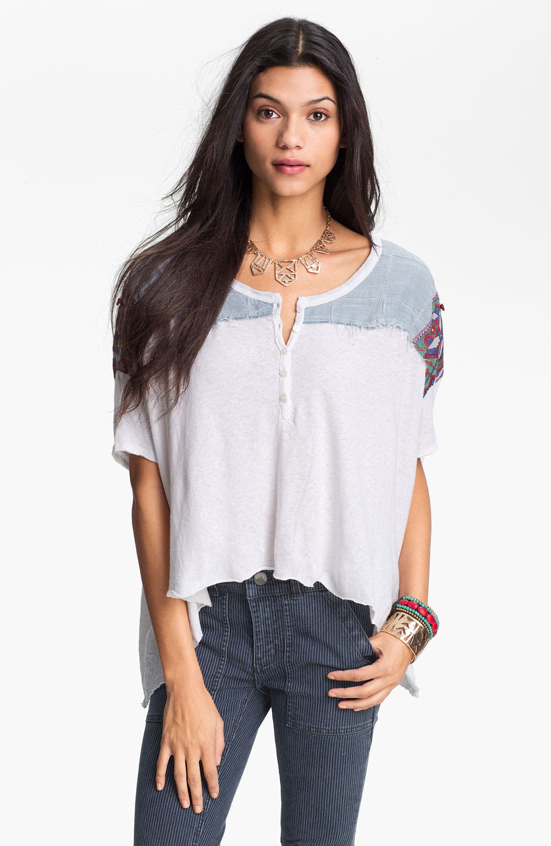 Main Image - Free People 'Mexicali' Oversized Mixed Media Top