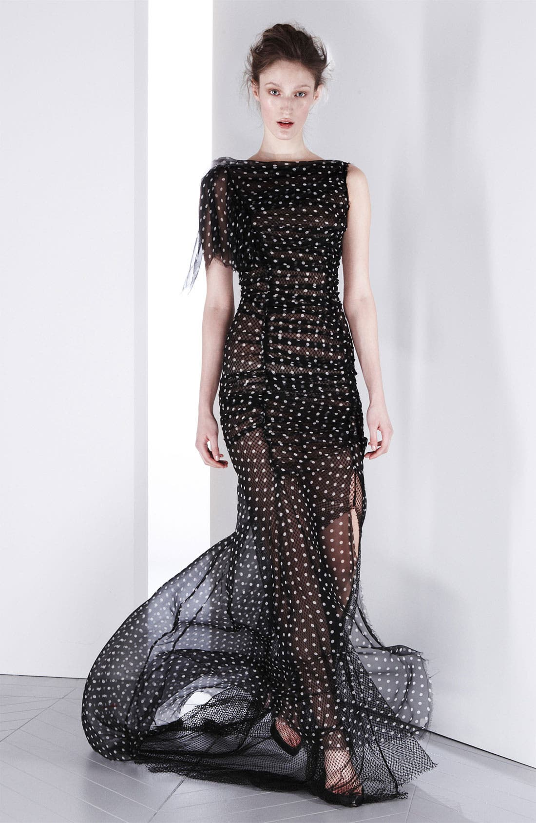 Alternate Image 1 Selected - Nina Ricci Draped Silk & Net Gown