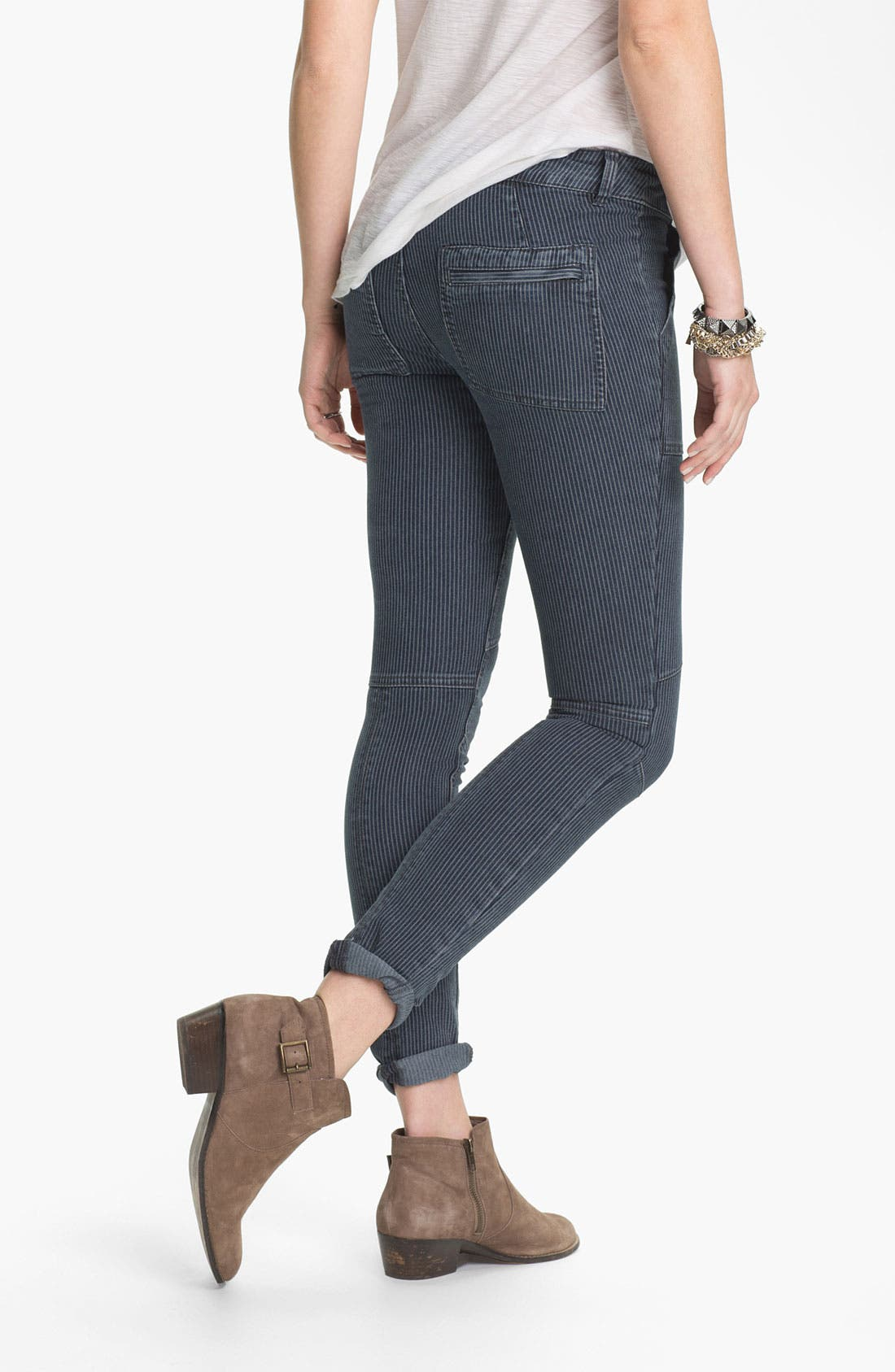 Alternate Image 2  - Free People Railroad Stripe Skinny Utility Jeans (Washed Black)