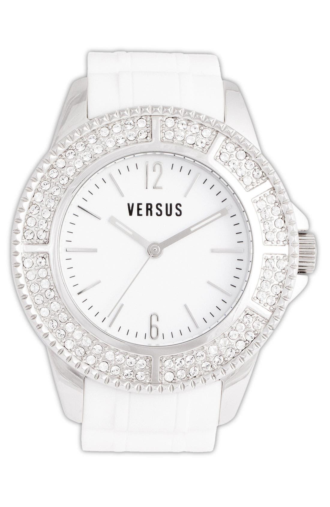 Alternate Image 1 Selected - VERSUS by Versace 'Tokyo' Crystal Bezel Rubber Strap Watch, 42mm