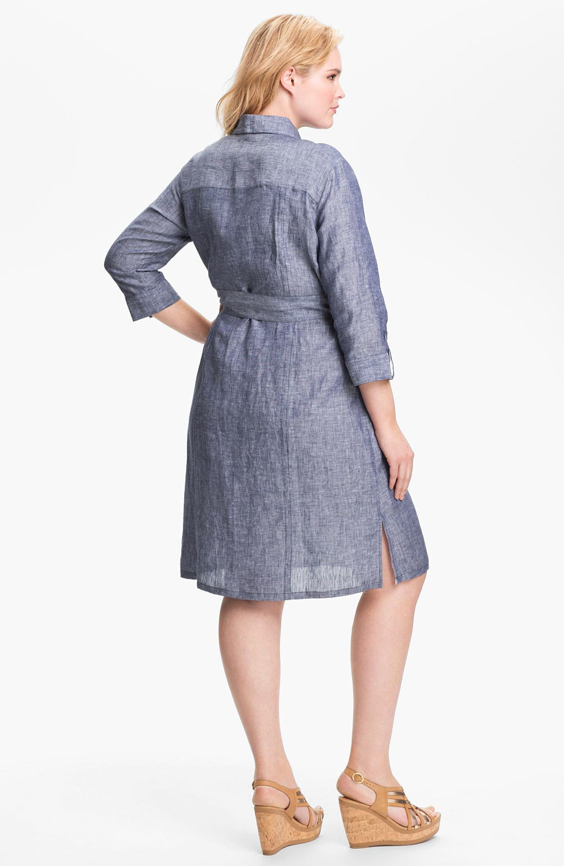 Alternate Image 2  - Foxcroft Chambray Linen Shirtdress (Plus Size) (Online Only)