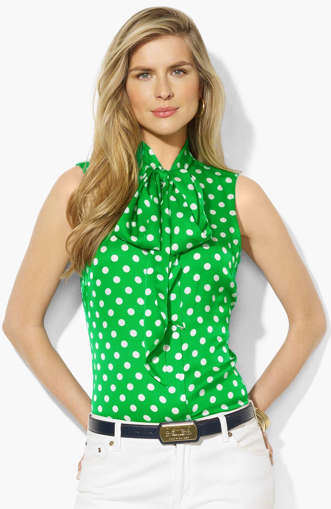 Alternate Image 1 Selected - Lauren Ralph Lauren Tie Neck Silk Blouse (Petite) (Online Only)