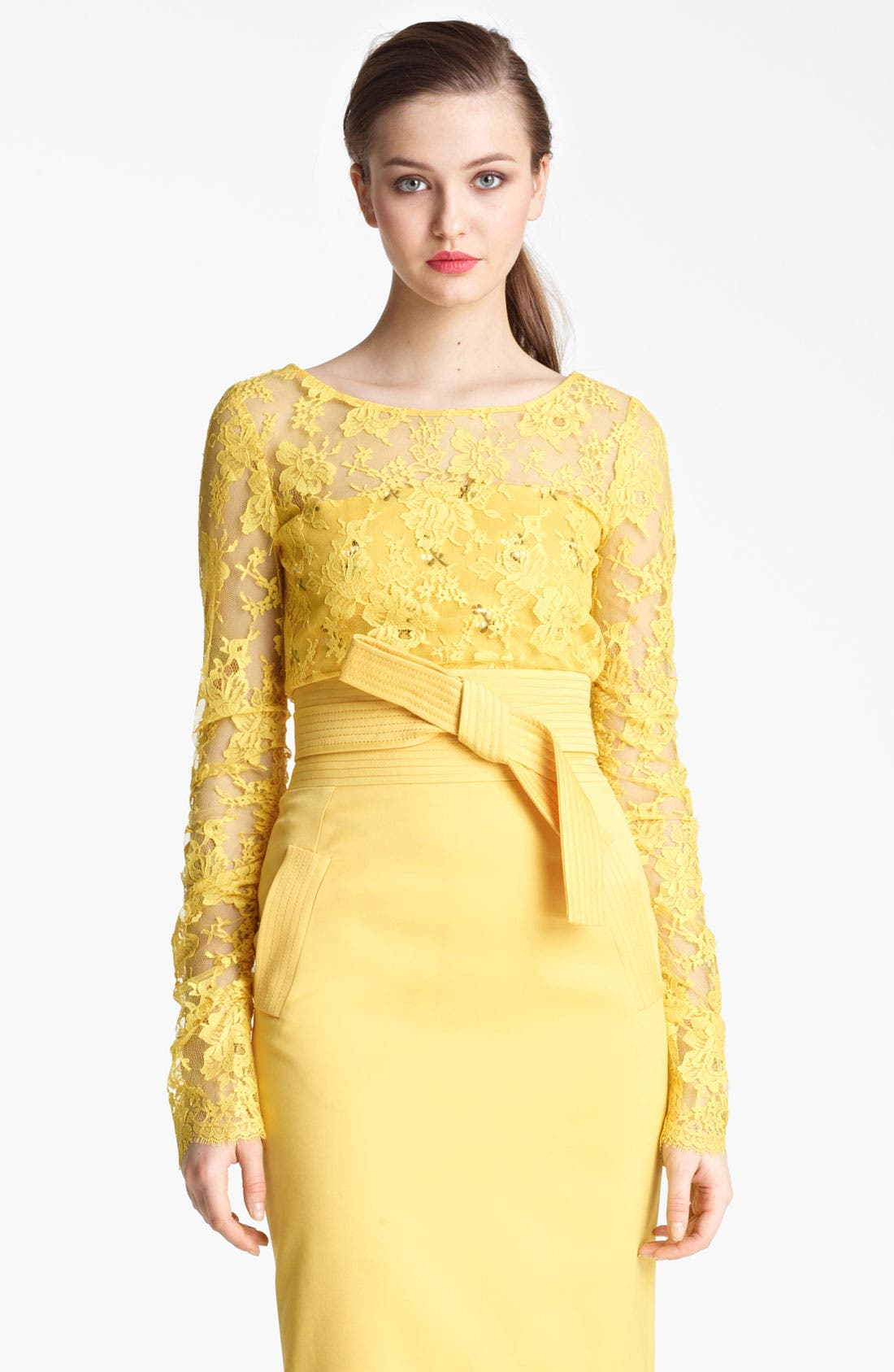 Alternate Image 2  - Oscar de la Renta Chantilly Lace Overlay Blouse